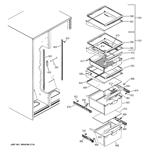 GE GSH22JGDDBB fresh food shelves diagram