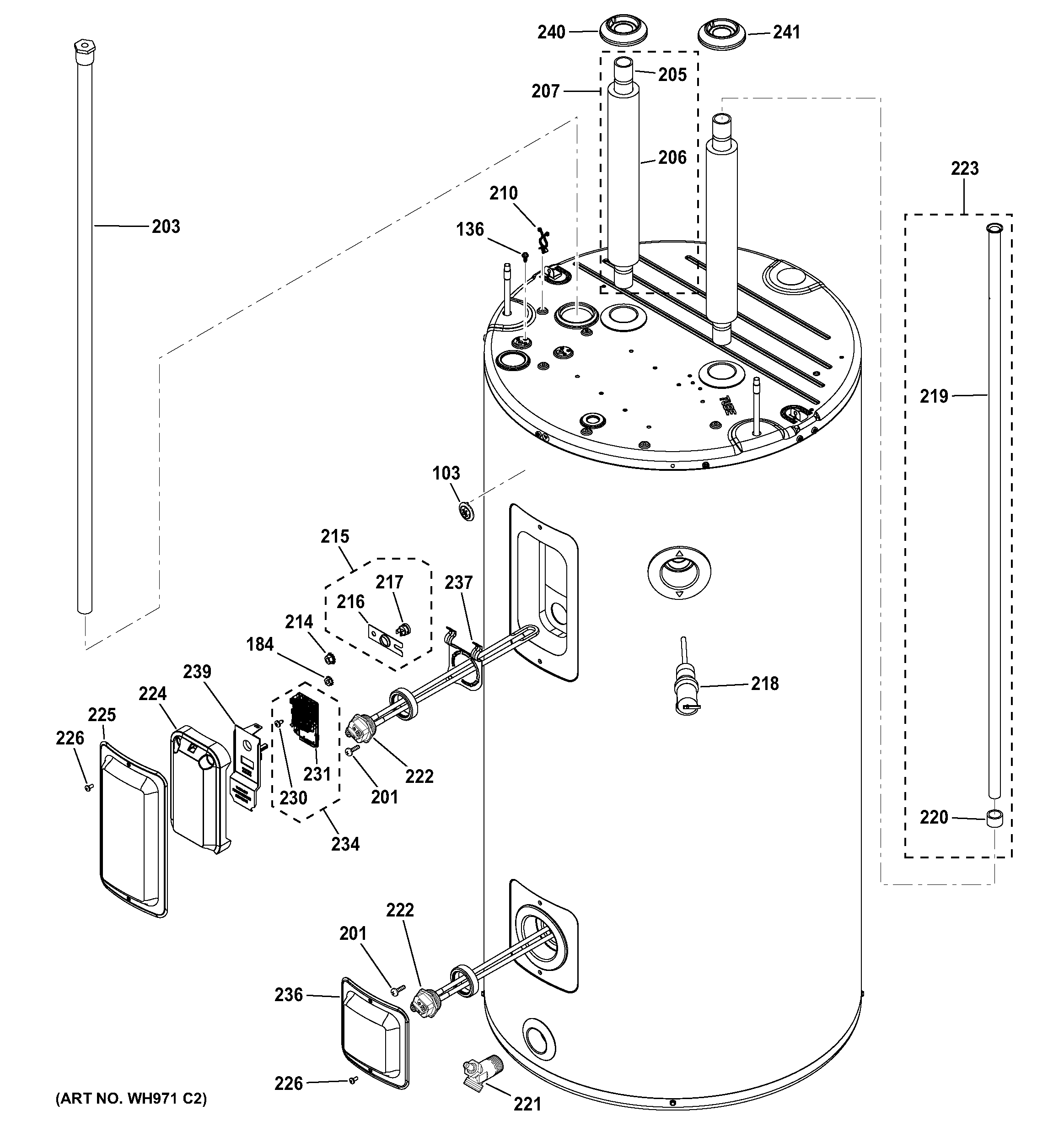 Ge  Water Heater  Body parts