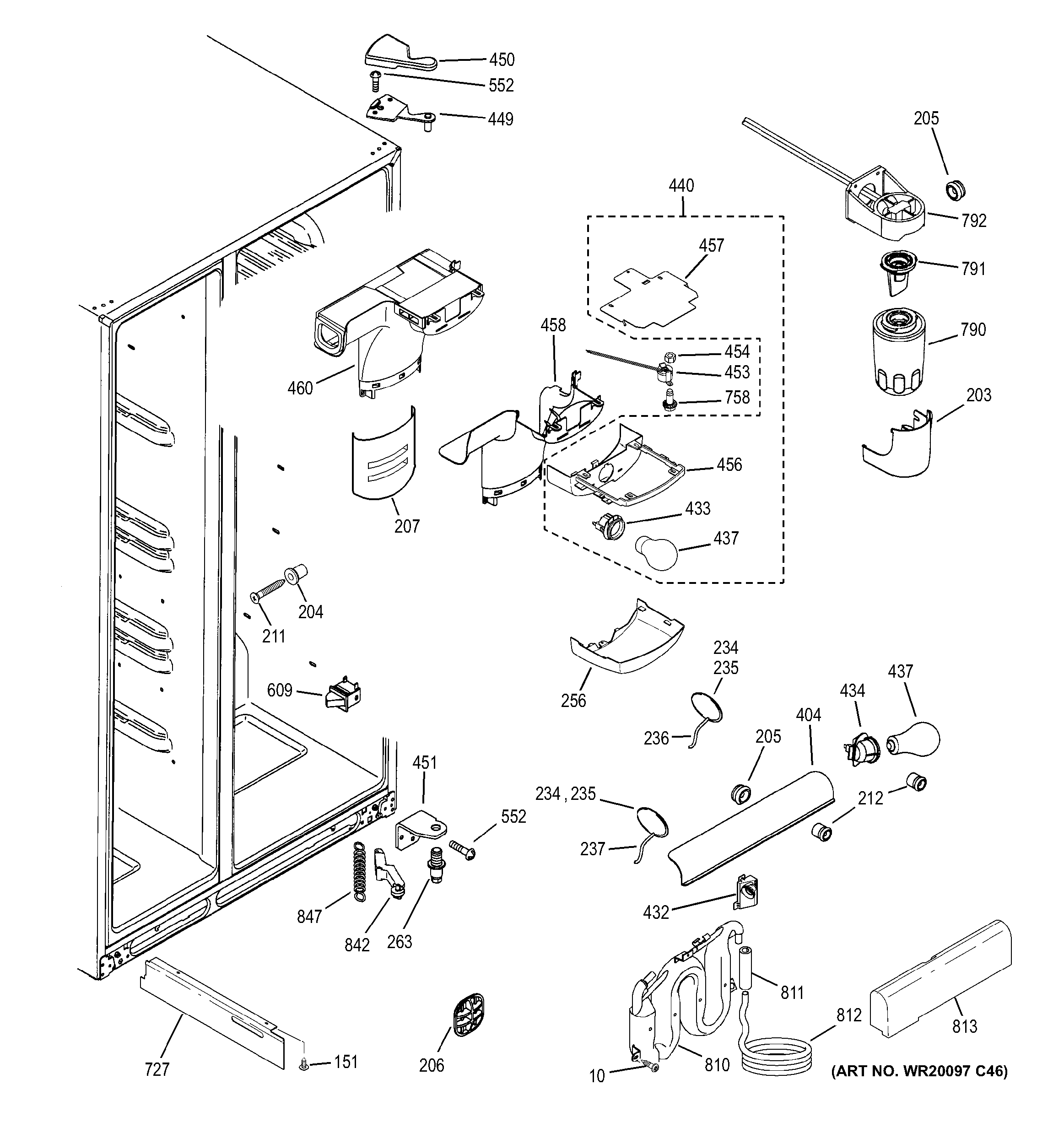 GE GSS25QSWASS fresh food section diagram