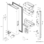 GE ZWE23ESHESS fresh food door - lh diagram