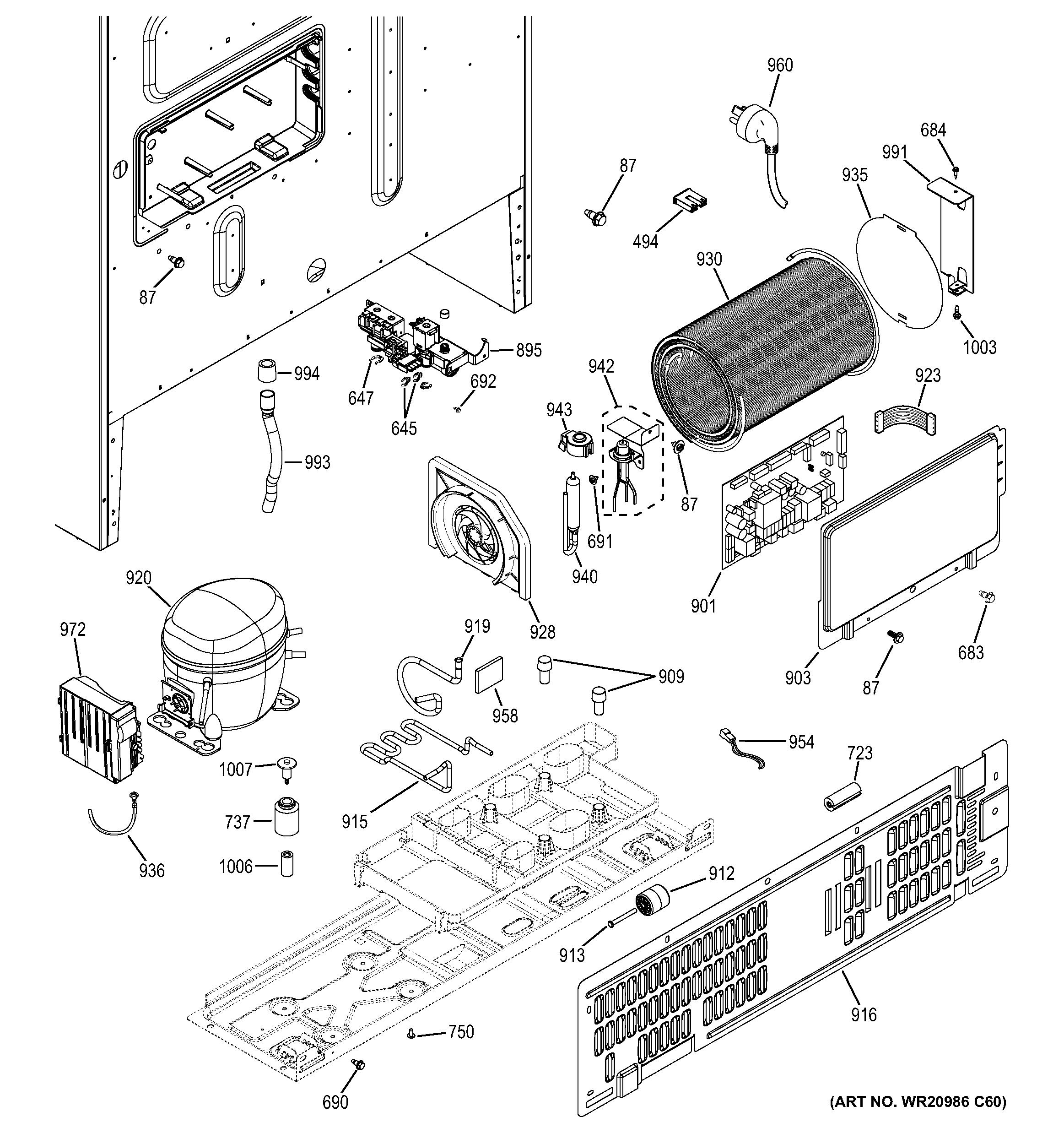 Ge  Bottom Mount Refrigerator  Machine compartment