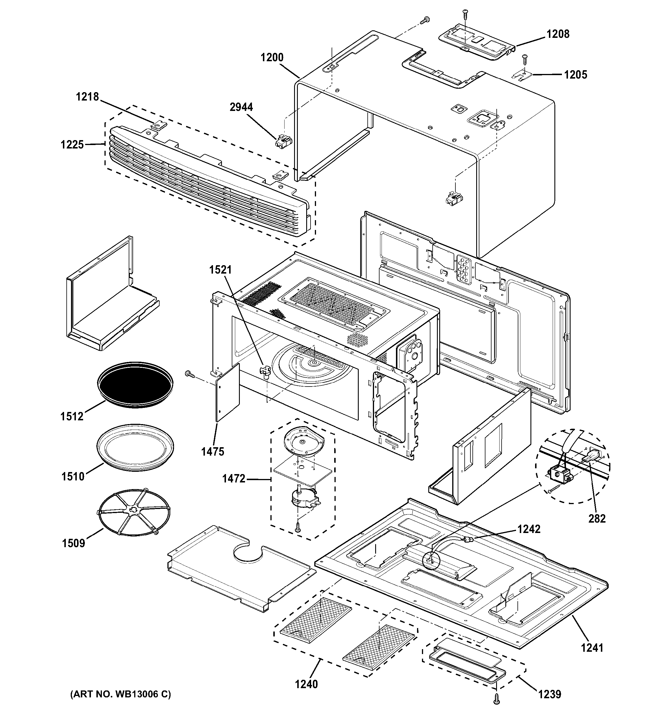 GE model SCA1001FSS02 microwave/hood combo genuine parts