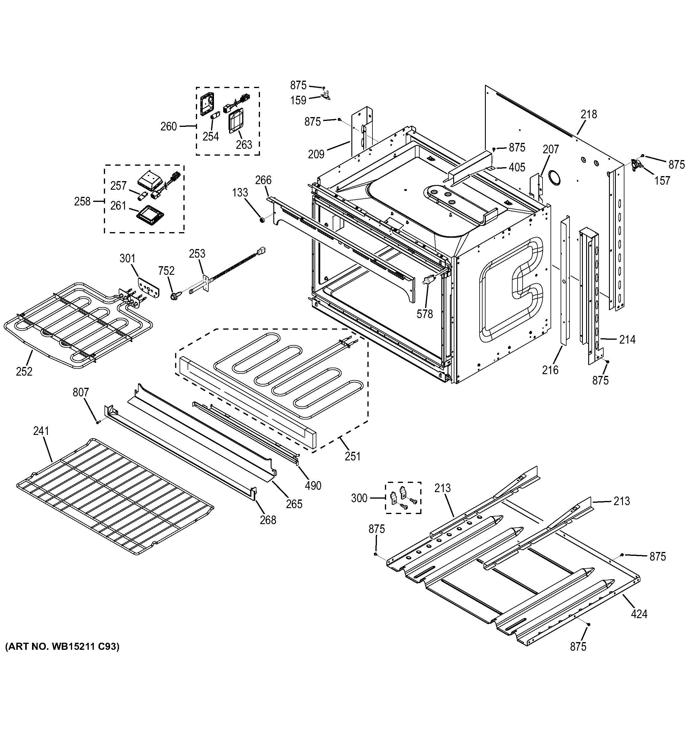 GE JT5500SF3SS lower oven diagram