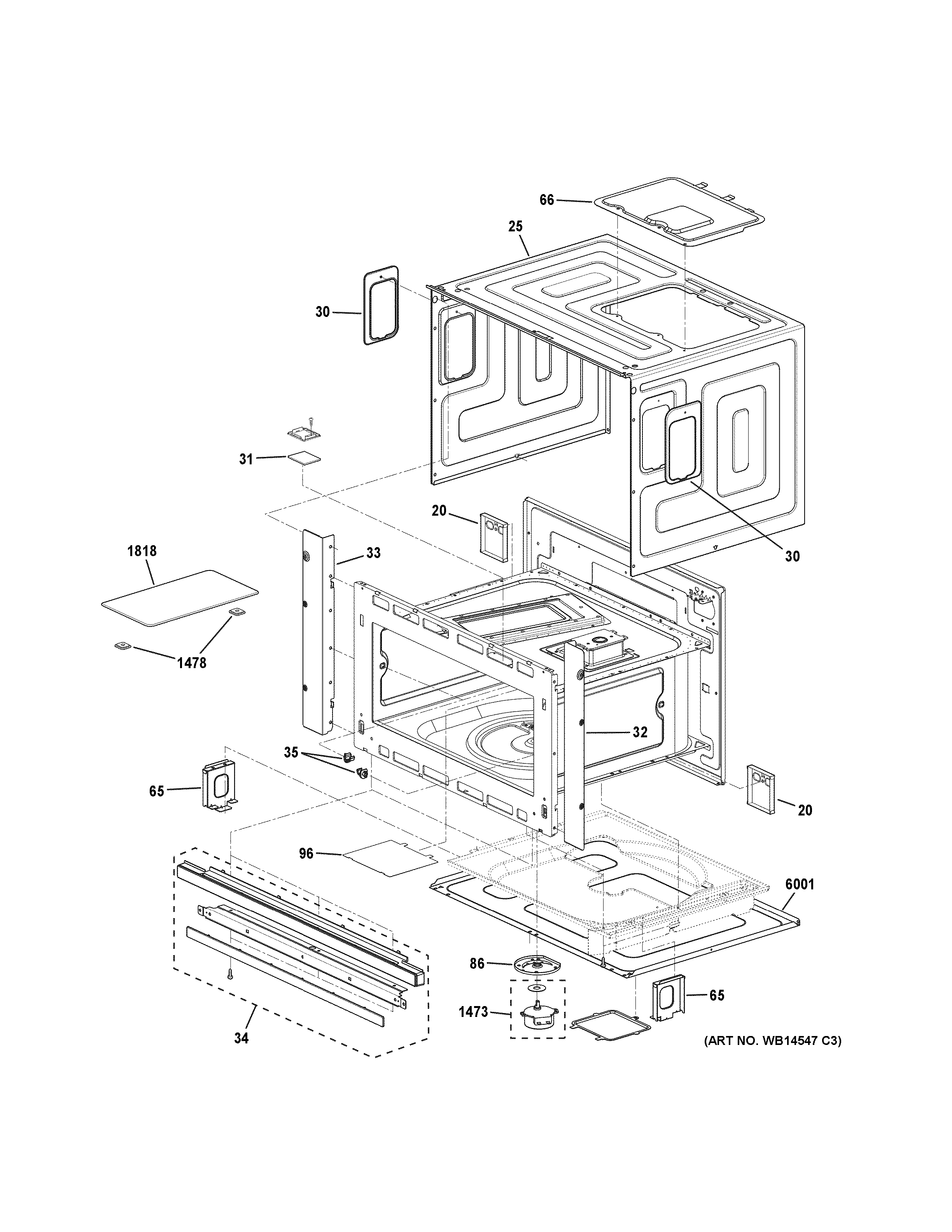 GE ZSC2201J1SS oven cavity parts diagram