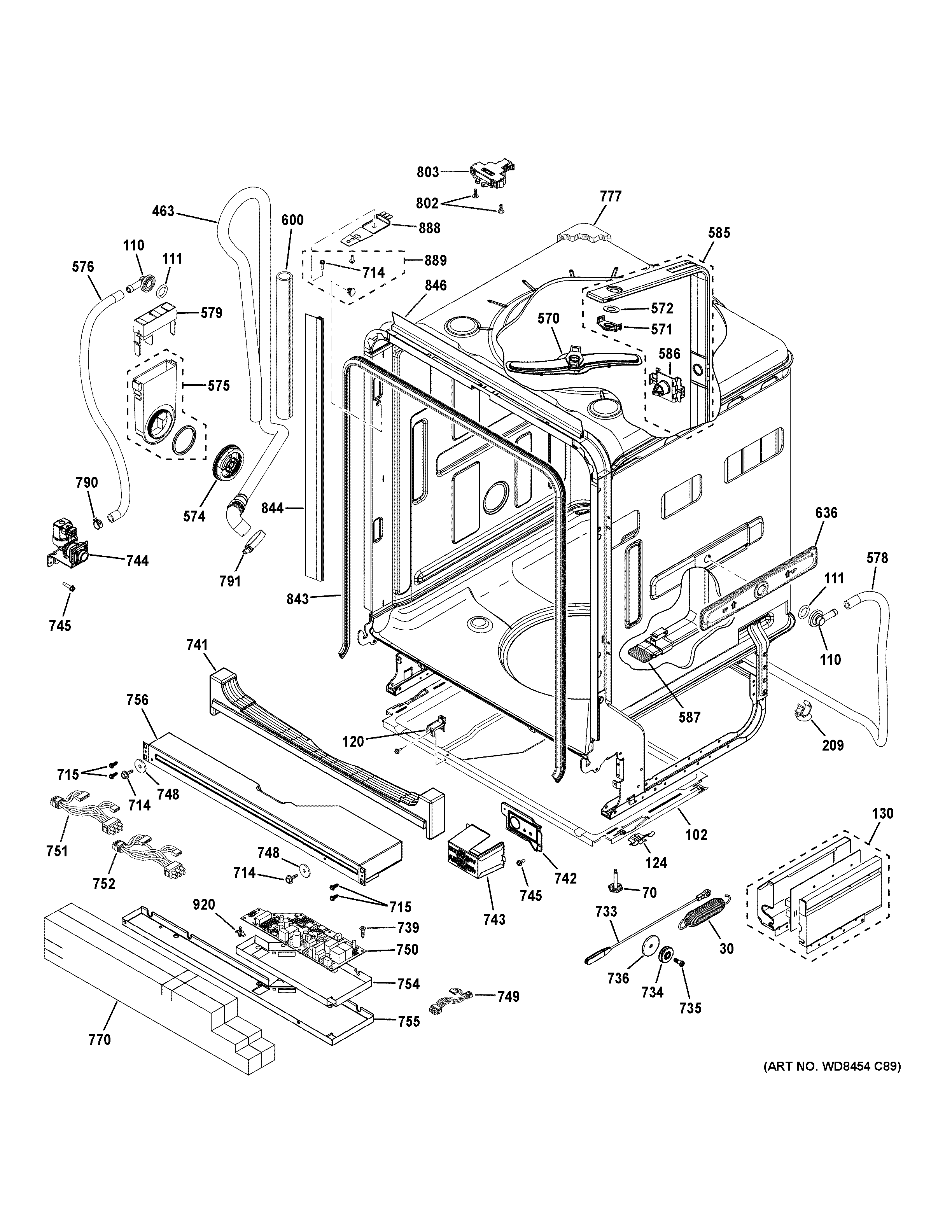 GE PDT750SSF5SS body parts diagram