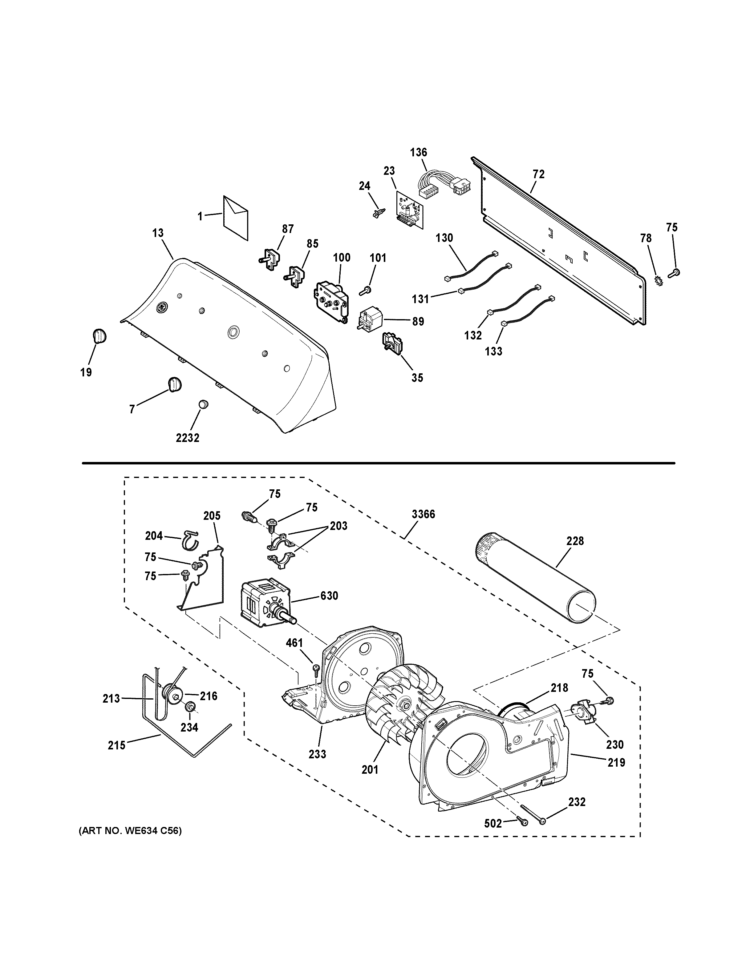 GE GTD45GASJ1WS backsplash, blower & motor assembly diagram