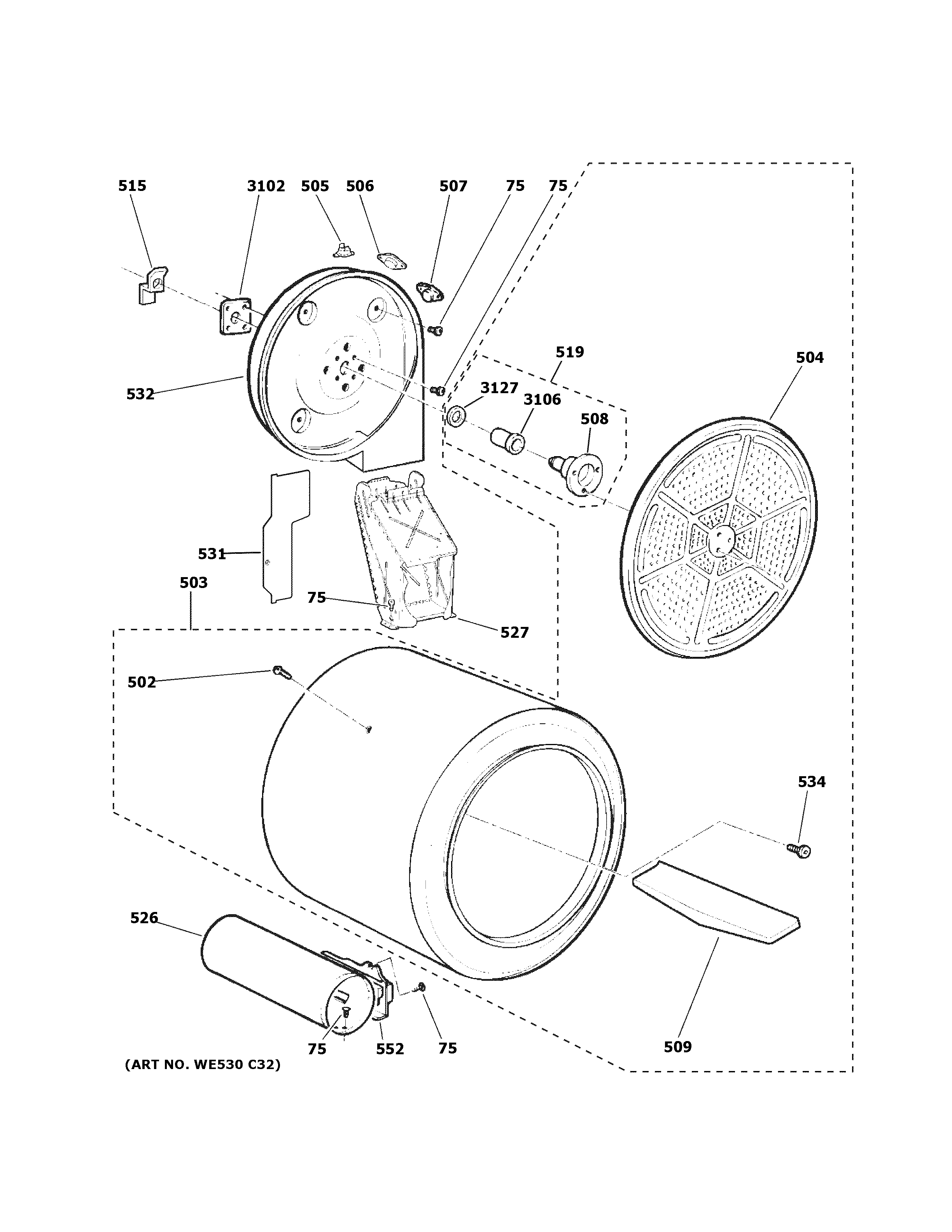GE GTD45GASJ1WS drum diagram