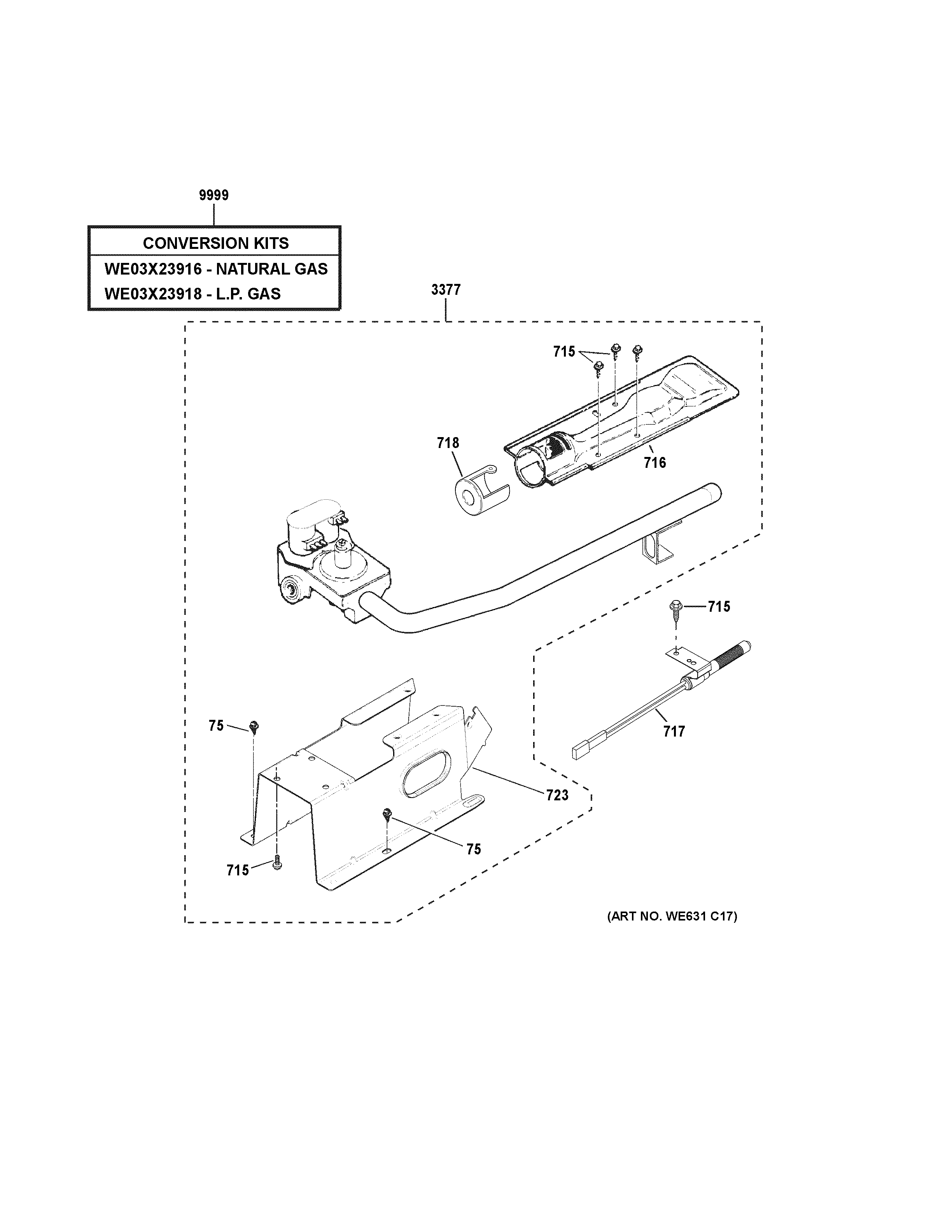 GE GTD45GASJ1WS gas valve & burner assembly diagram