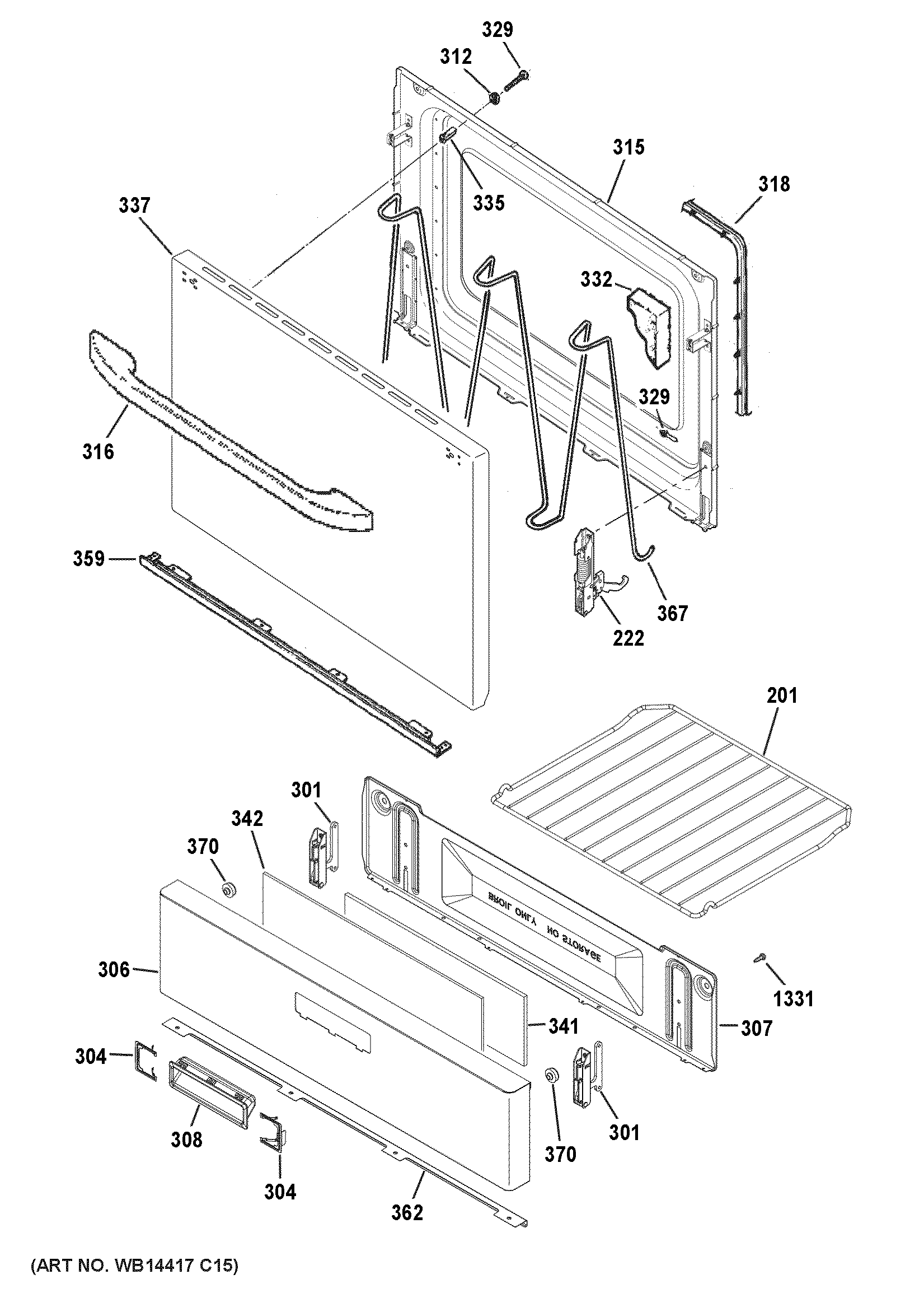 Hotpoint  Gas Range  Door & drawer parts