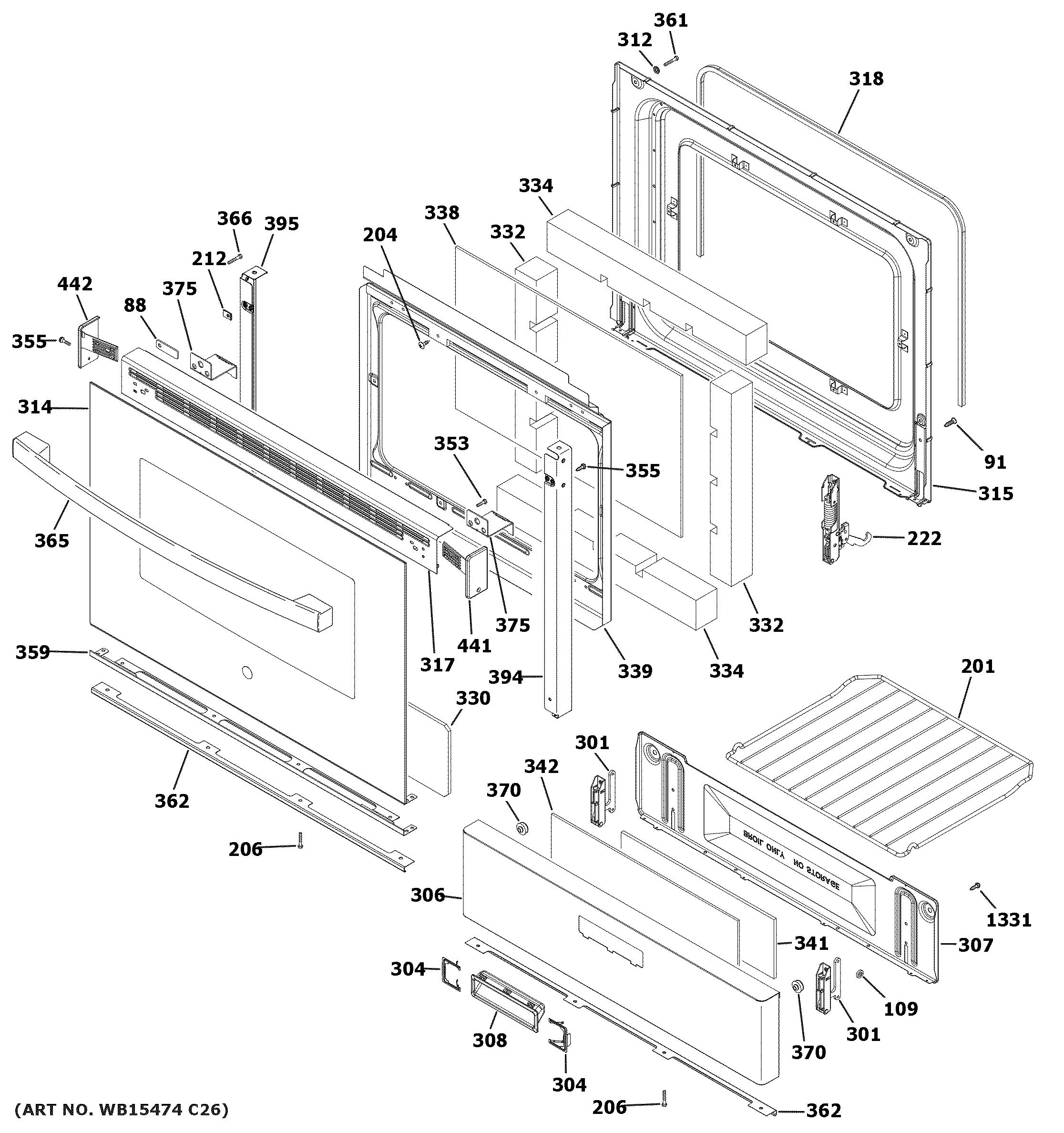 Ge  Gas Range  Door & drawer parts
