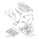 GE JGBS80WEL1WW control panel & cooktop diagram