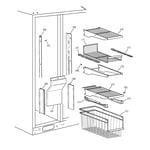 GE TPG24PFCBBB freezer shelves diagram