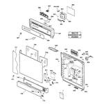 GE GSC3200J01WW escutcheon & door assembly diagram