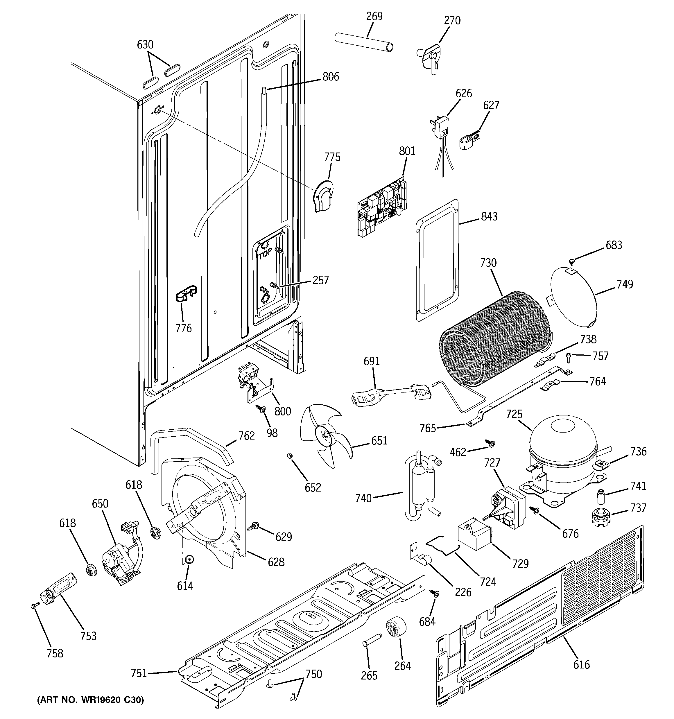 Hotpoint HSS25GFTECC sealed system & mother board diagram
