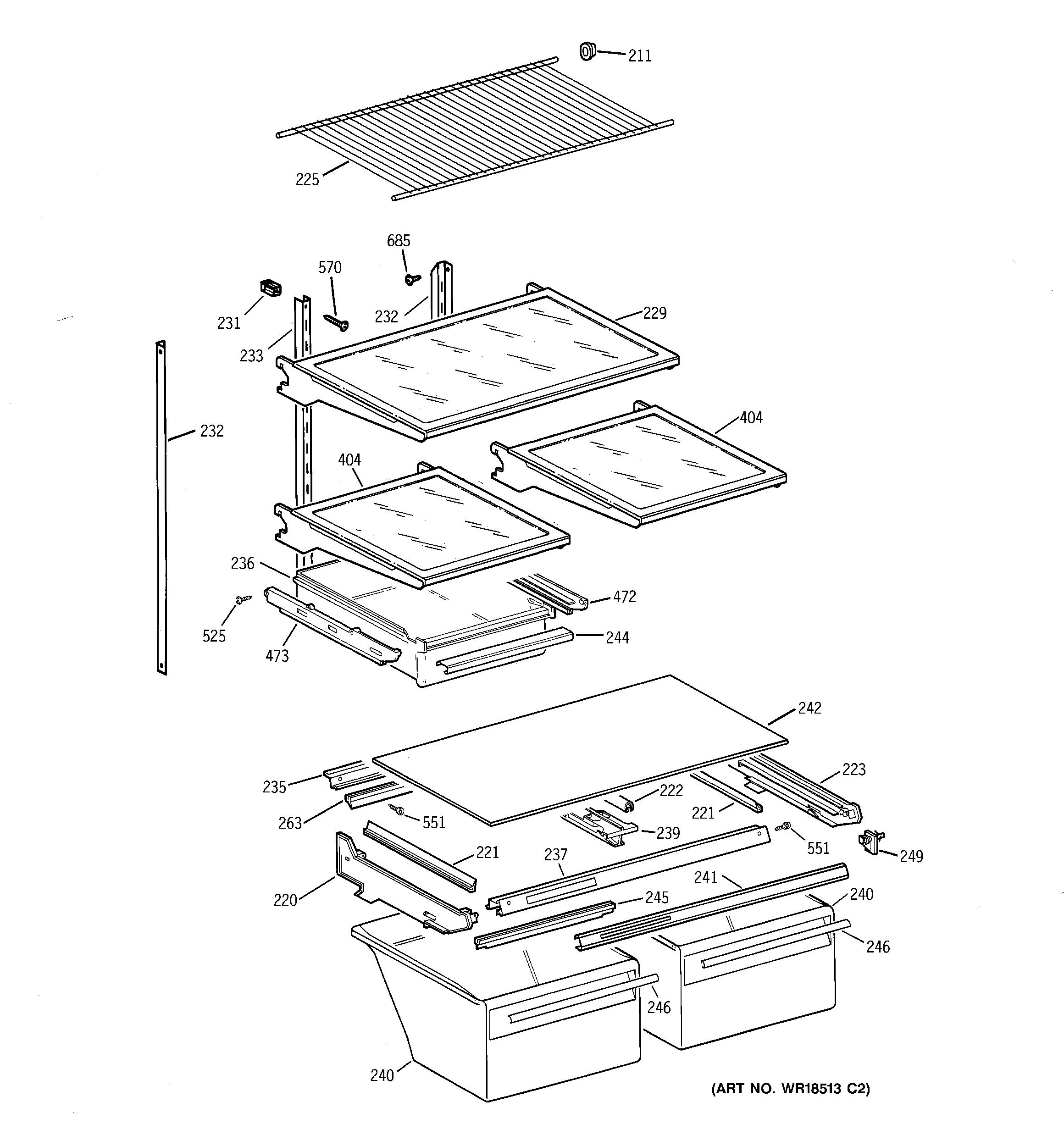 Hotpoint Refrigerator B Series Cabinet Parts