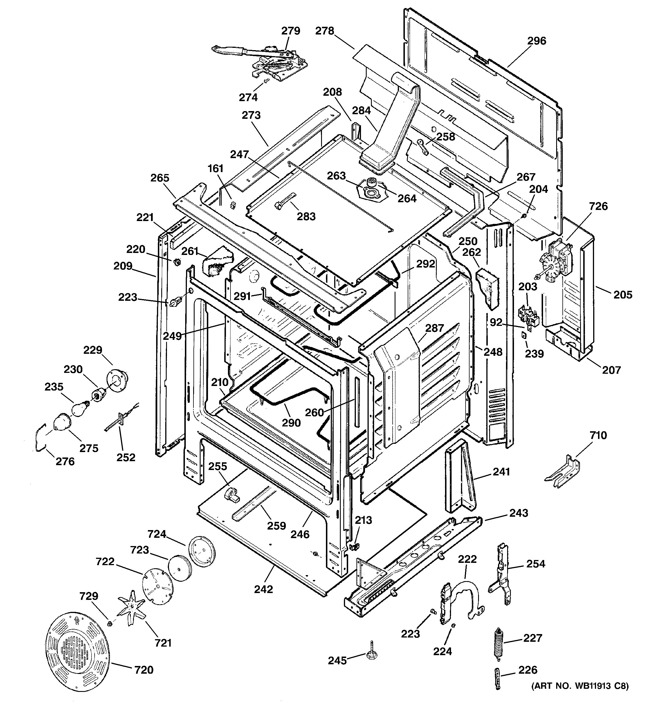 Hotpoint RB798BC3BB body parts diagram