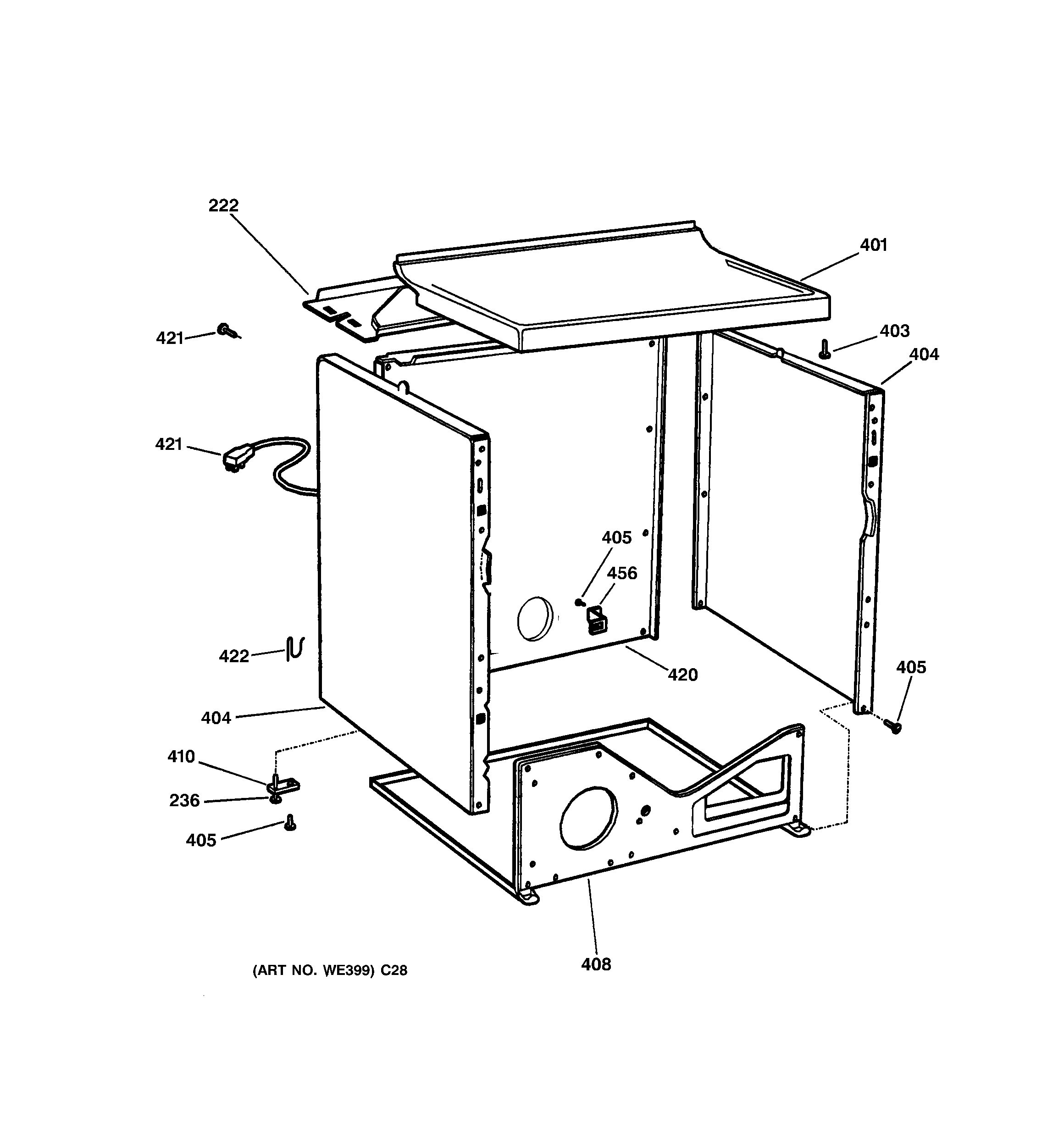 Hotpoint NVLR223GH4WO cabinet diagram