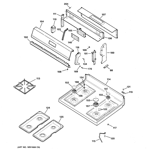 Hotpoint RGB535BEA5AD control panel & cooktop diagram