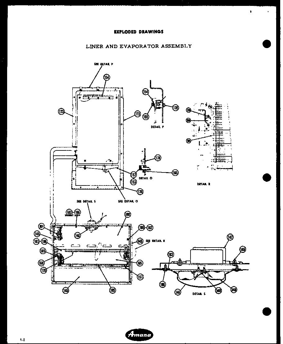 Amana  1965 Freezer Plus Refrigerator  Liner and evaporator assembly