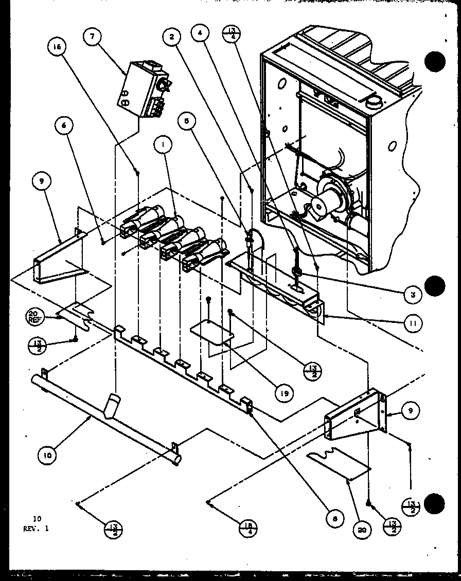 Amana GHN115A50/P9961506F gas burners and manifold diagram