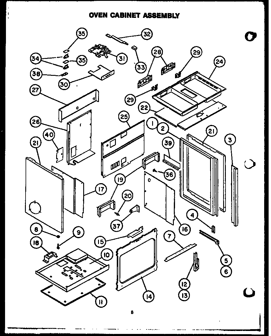 Modern Maid PHU185 oven cabinet assembly diagram