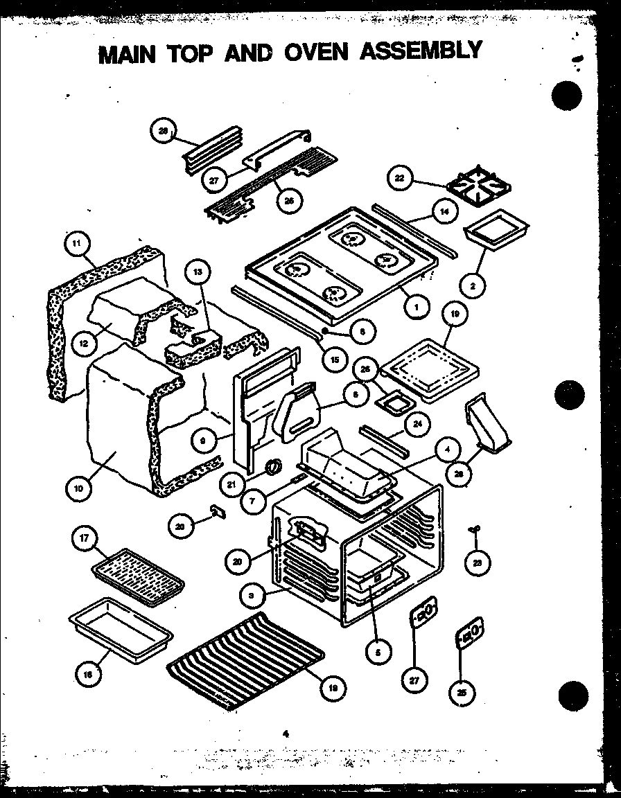 Amana AGS741W-P1155901S main top and oven assembly diagram