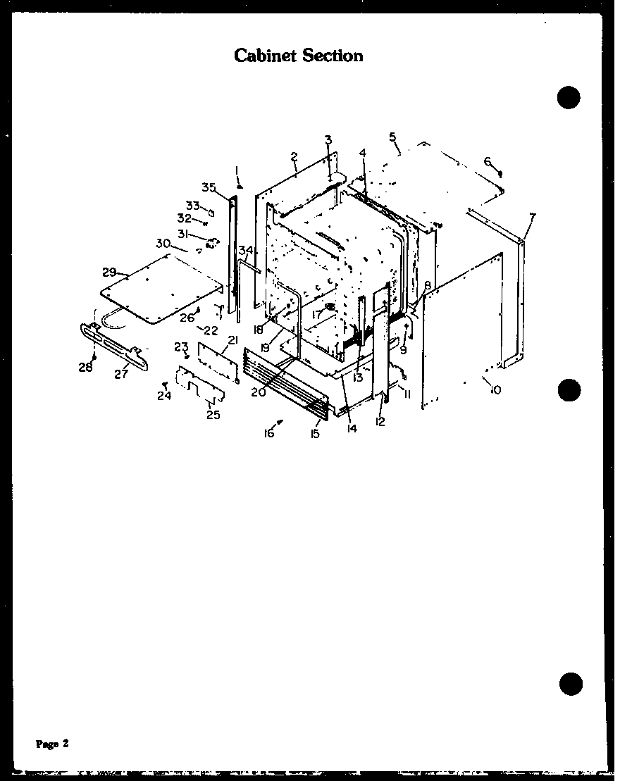 Modern Maid QKO-751A cabinet section diagram
