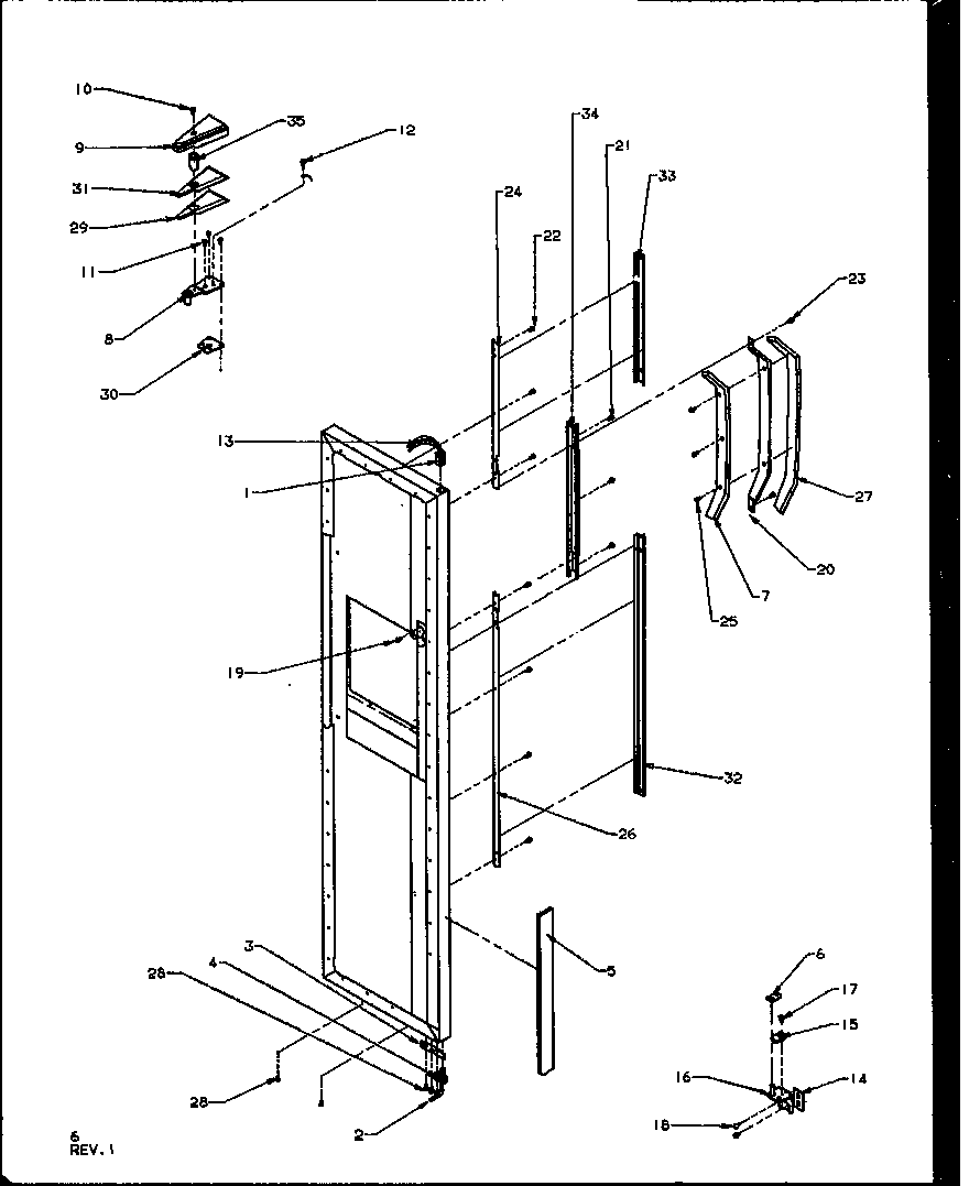 Amana SQD25NBL-P1162402WL freezer door hinge and trim parts diagram