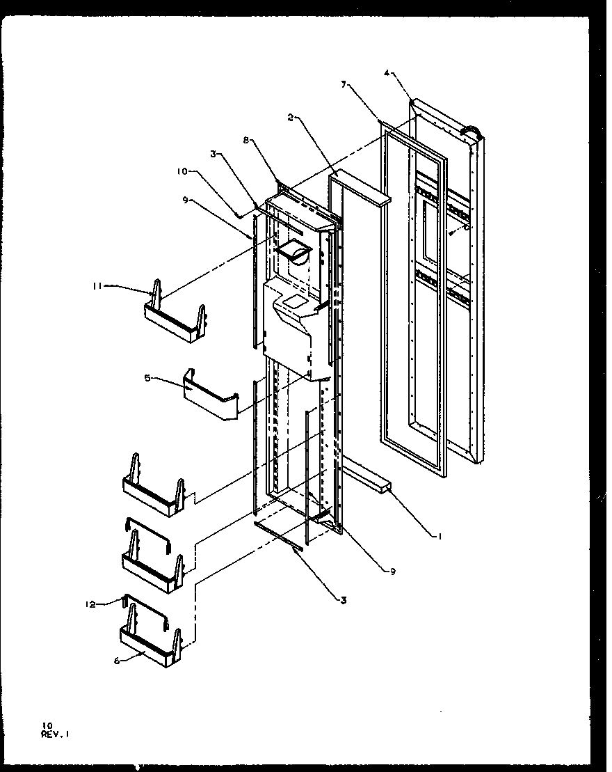 Amana SQD25NBL-P1162402WL freezer door diagram