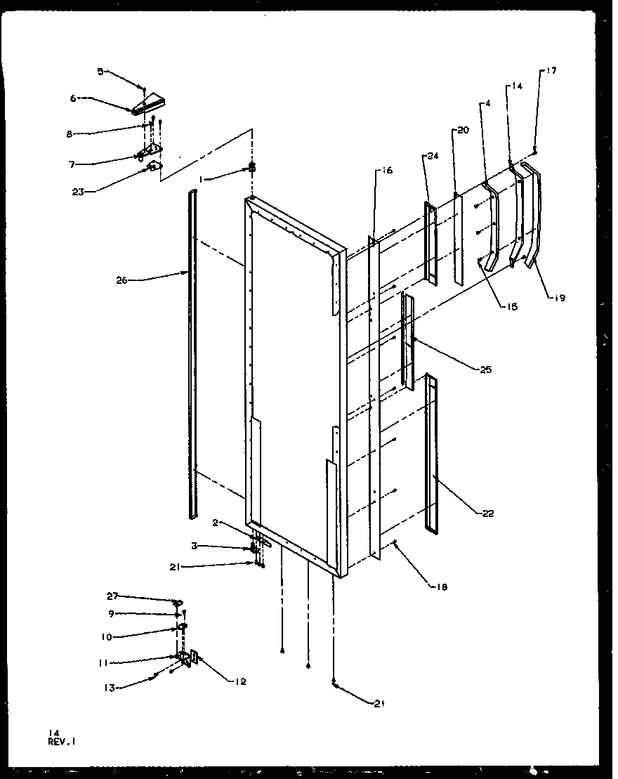 Amana SQD25NBL-P1162402WL refrigerator door hinge and trim parts diagram