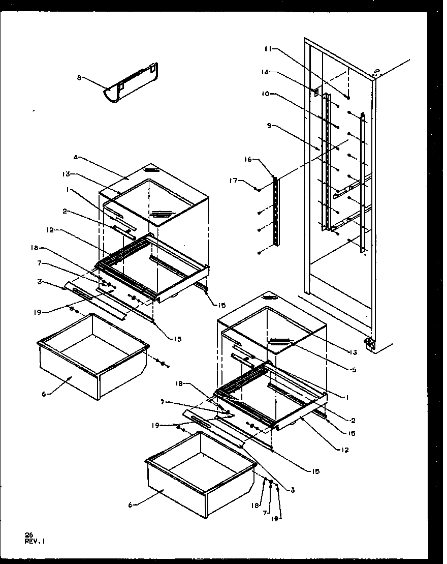 Amana SQD25NBL-P1162402WL refrigerator shelving and drawers diagram