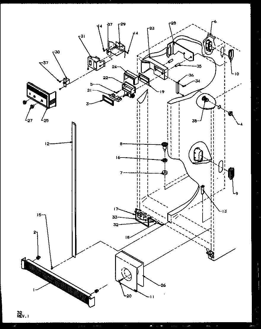 Amana SQD25NBL-P1162402WL refrigerator/freezer controls and cabinet parts diagram