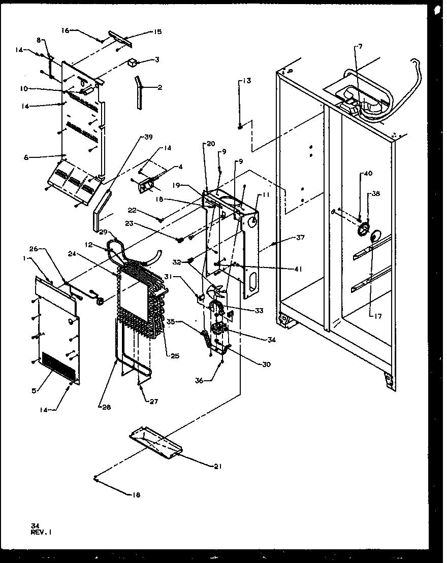 Amana SQD25NBL-P1162402WL evaporator and air handling diagram
