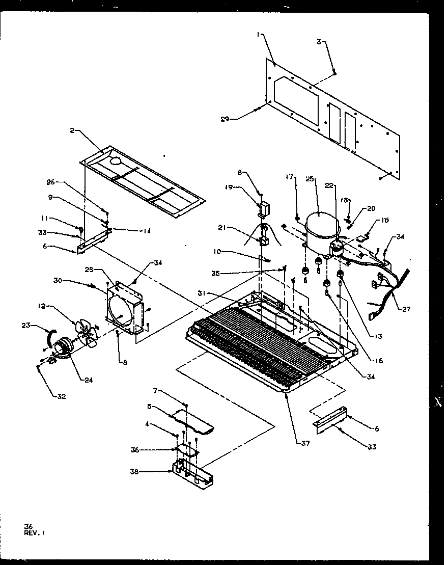 Amana SQD25NBL-P1162402WL machine compartment diagram