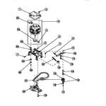 Amana LW8252L2/PLW8252L2B motor, mounting bracket, belt, pump and idler assembly (lw8203w2/plw8203w2b) (lw8252l2/plw8252l2b) (lw8252w2/plw8252w2b) (lw8303l2/plw8303l2b) (lw8303w2/plw8303w2b) (lw8312l2/plw8312l2b) (lw8312w2/plw8312w2b) (lw8413l2/plw8413l2b) (lw8413w2/plw8413w2b) (l diagram