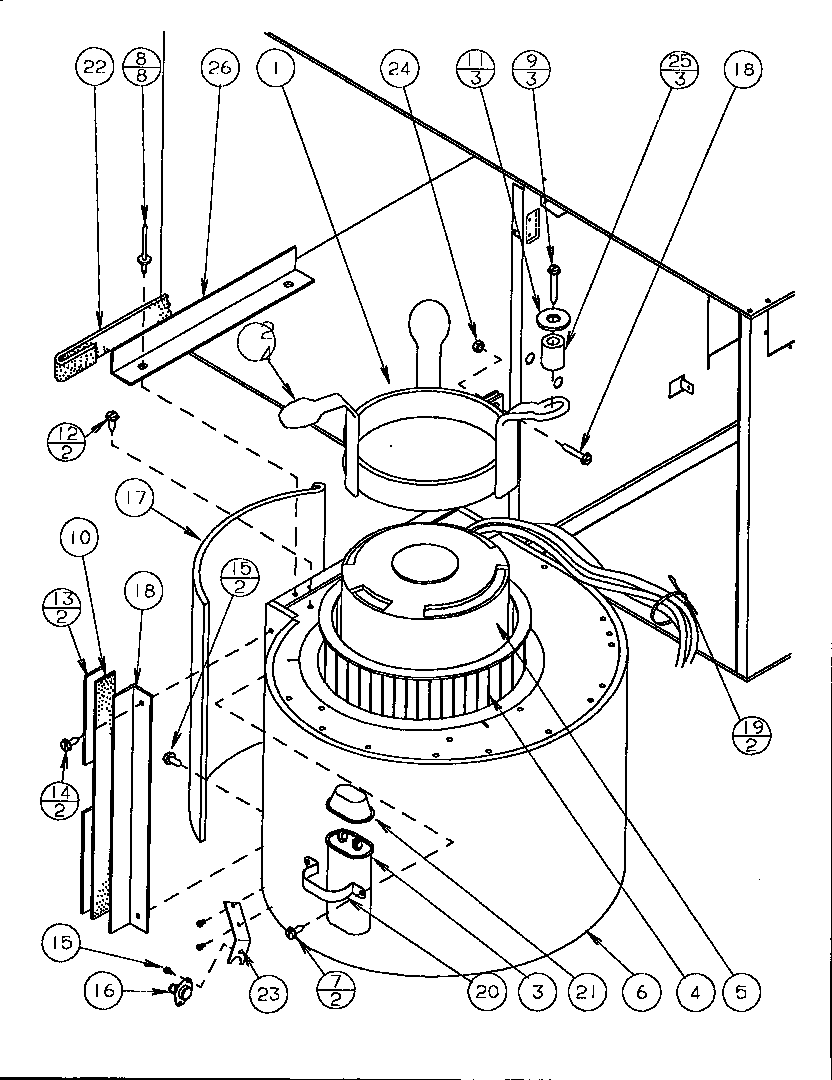 Amana GSI090D50A/P1160005F blower assembly diagram
