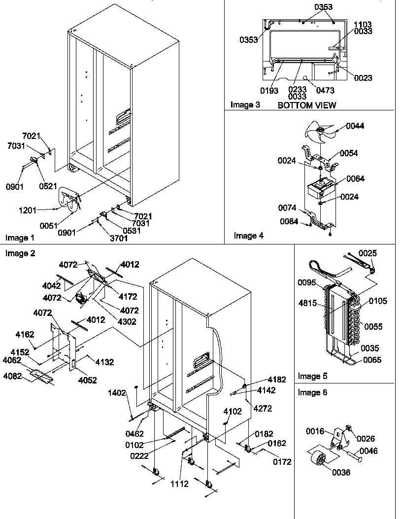 Amana SBDT520TW-P1308401WW rollers, hinges, and evaporator assemblies diagram