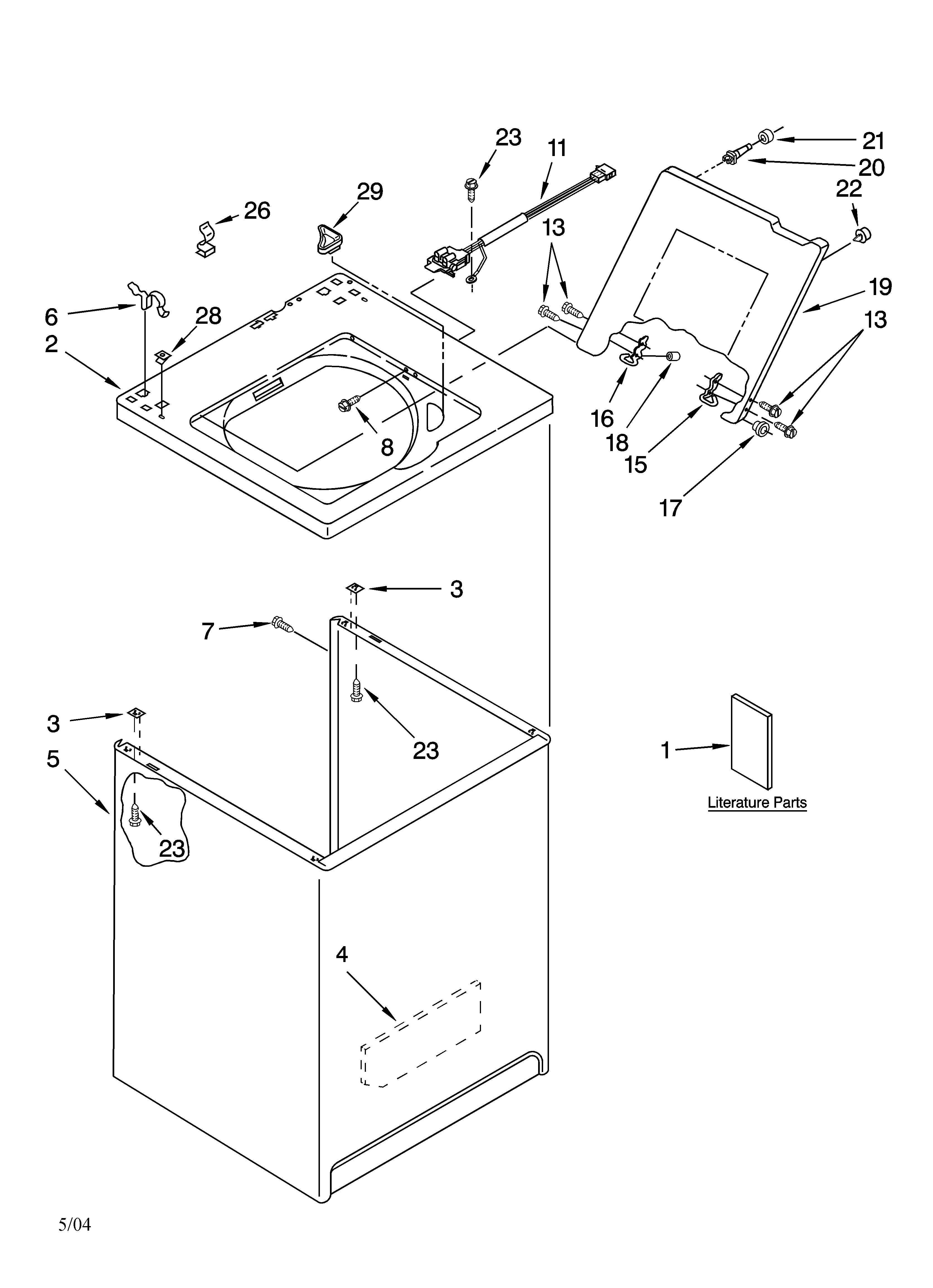 Kenmore 11015862400 top and cabinet parts diagram