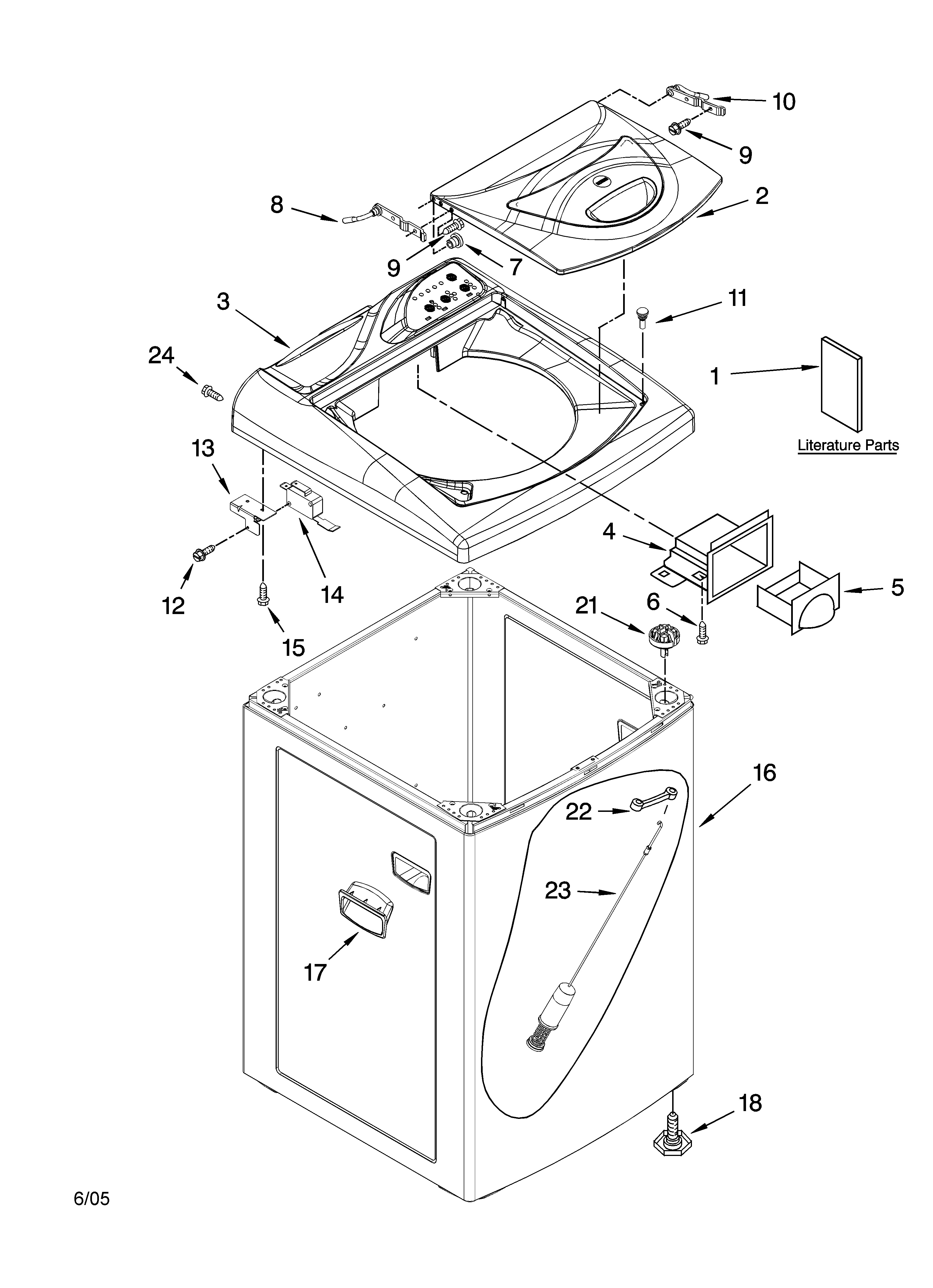Kenmore 11044182401 top and cabinet parts diagram