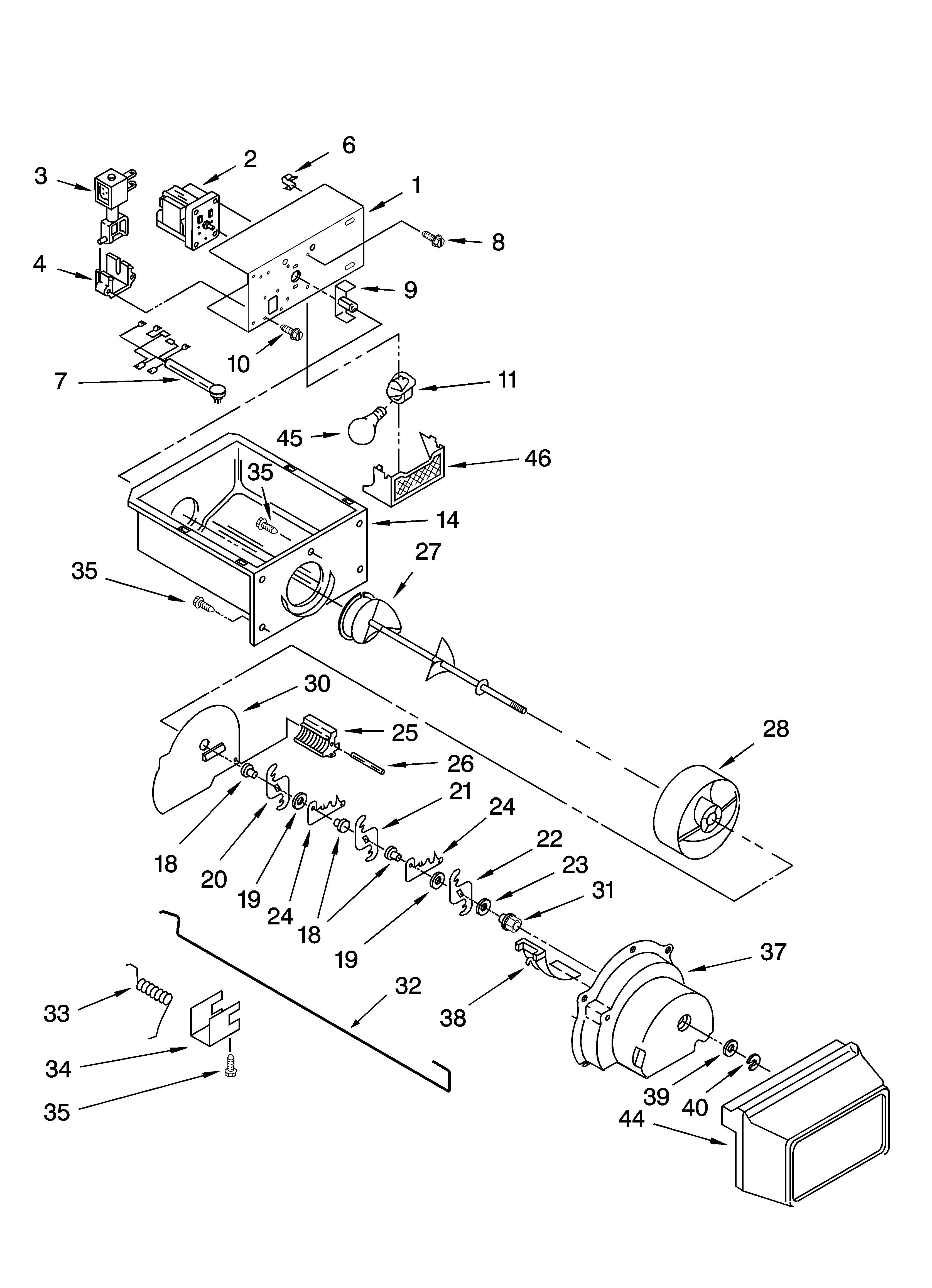 Kenmore 10656799603 motor and ice container parts diagram
