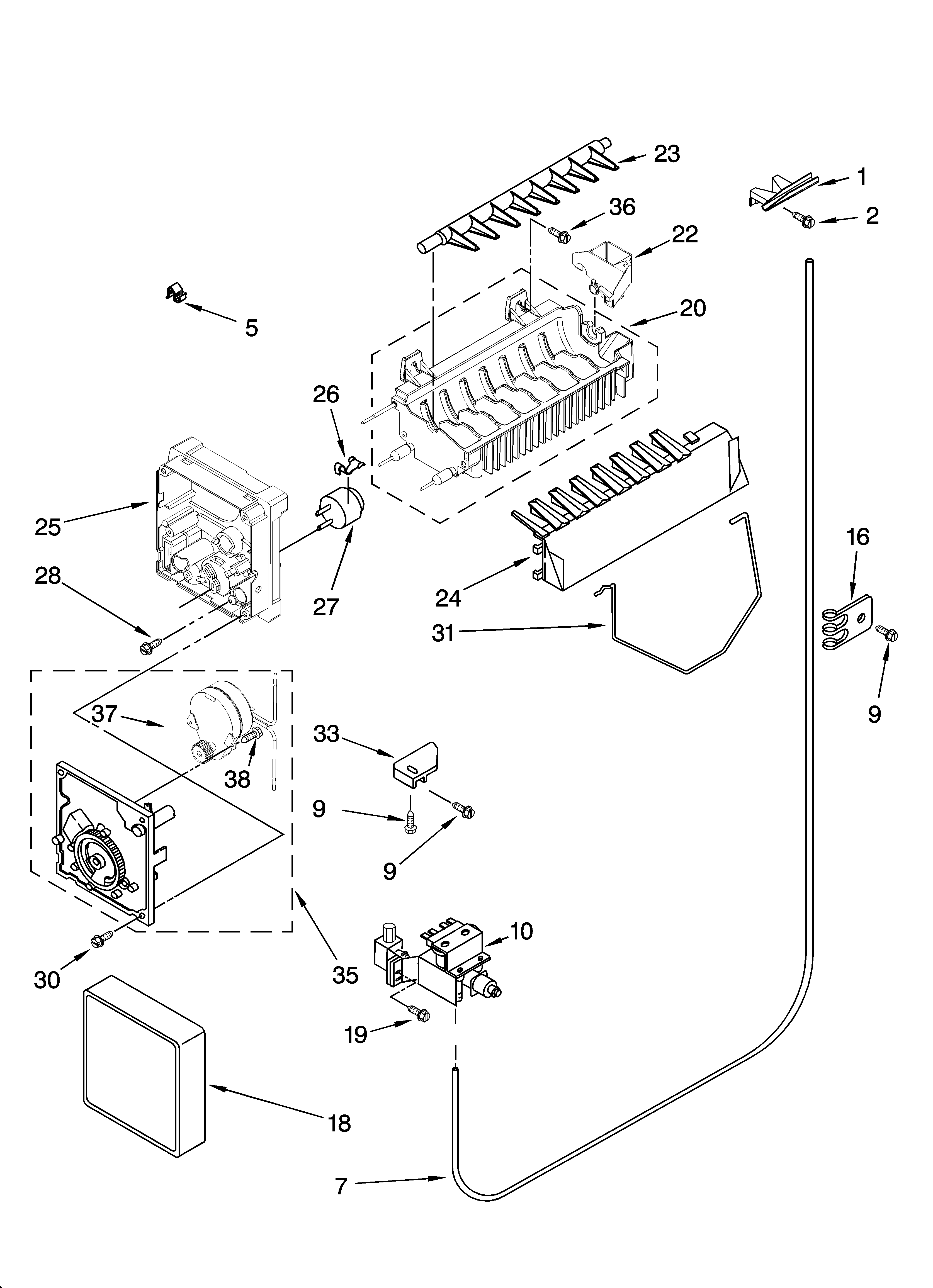 Kenmore 10656986601 icemaker parts, optional parts (not included) diagram
