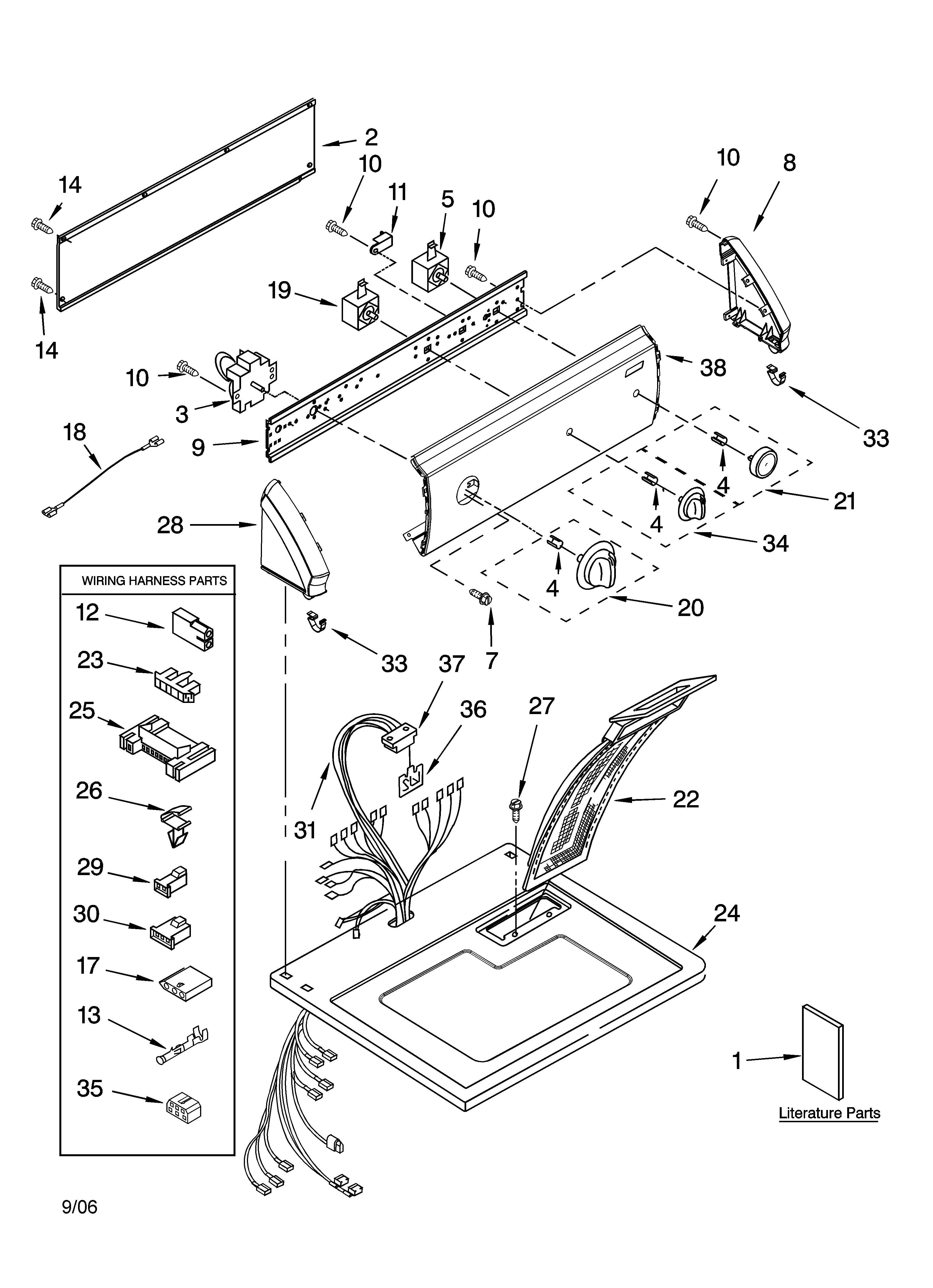Kenmore 11076862501 top and console parts diagram