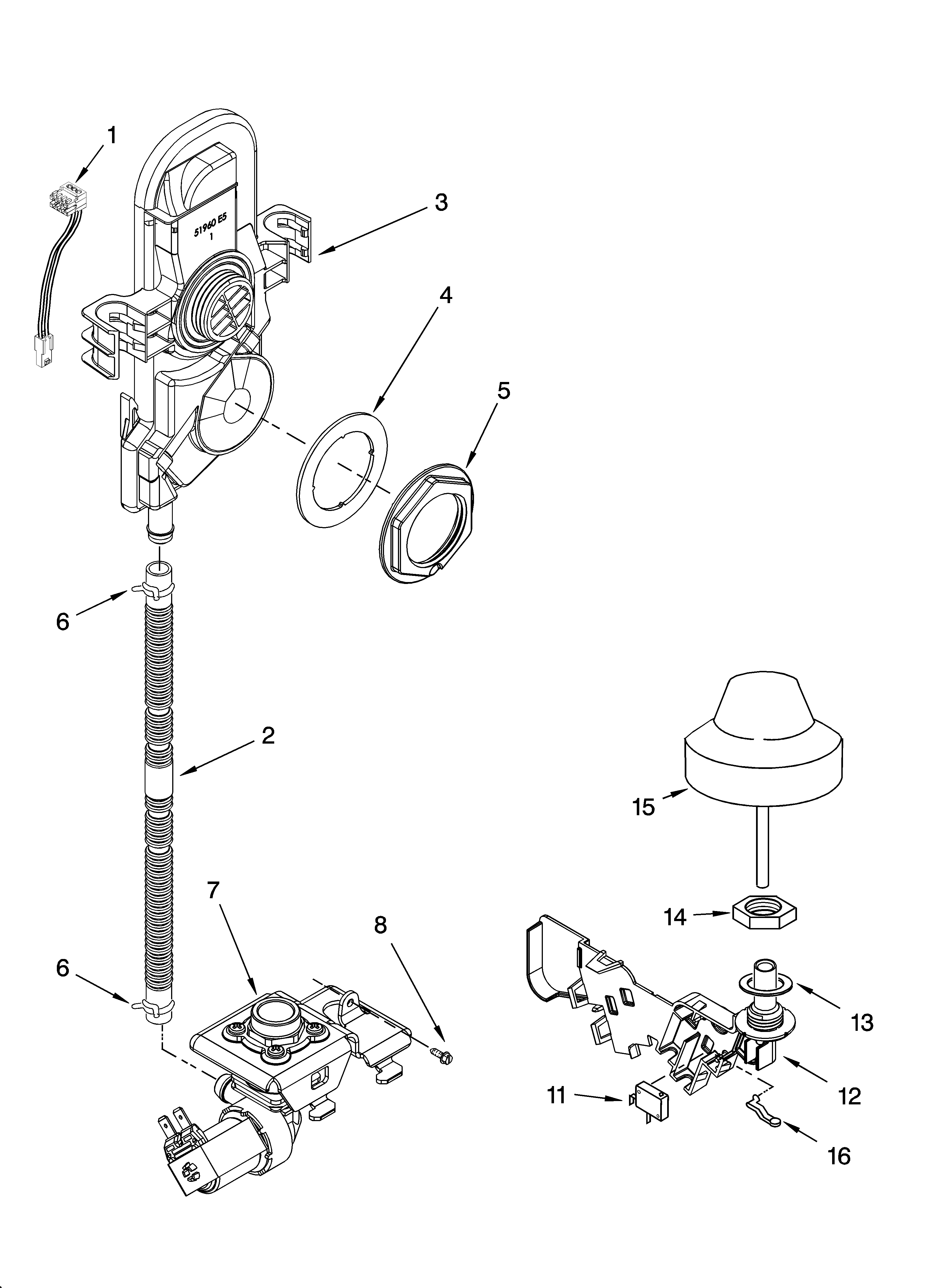 Kenmore Elite 66513869K602 fill and overfill parts diagram