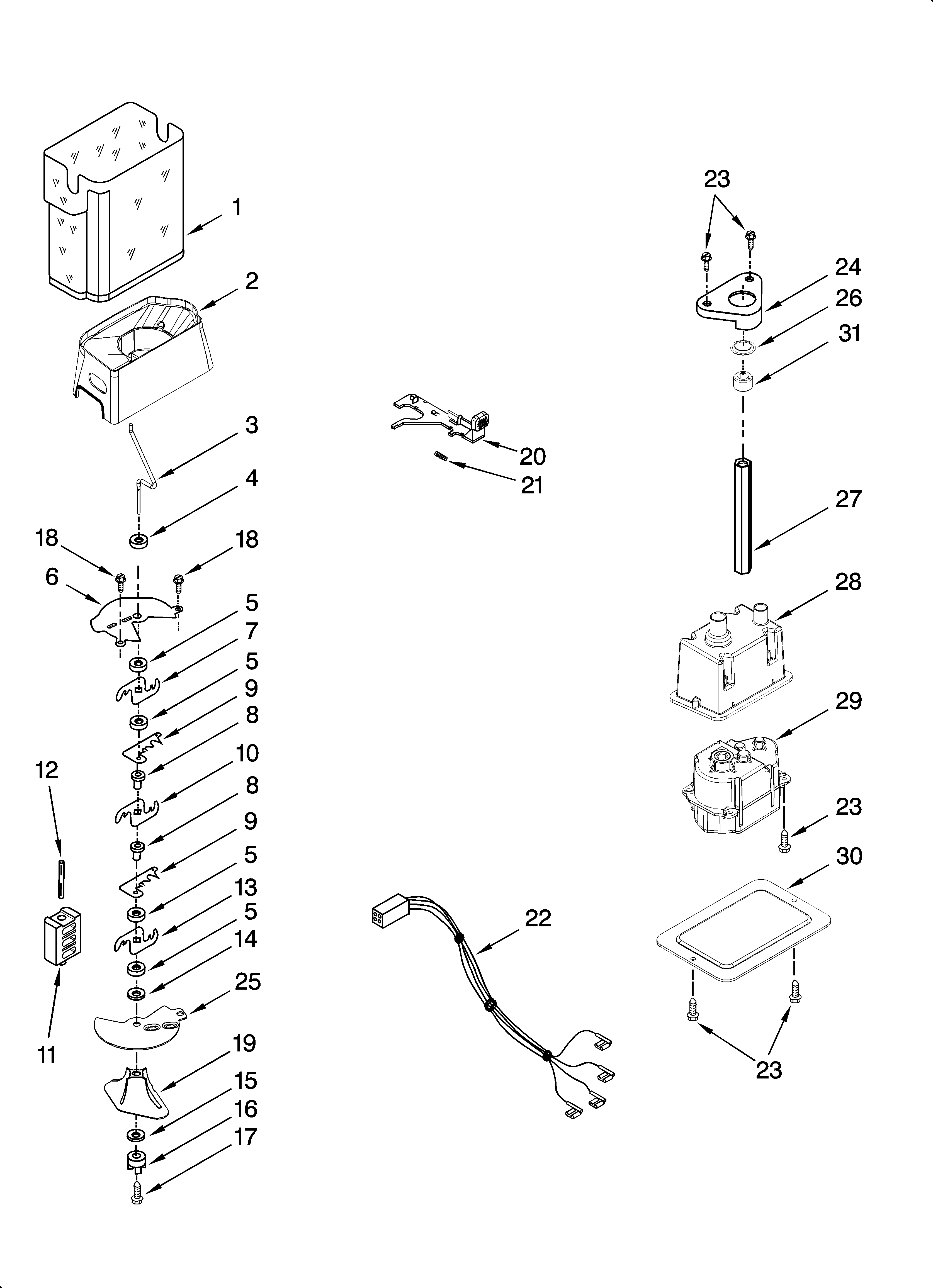 Kenmore 10656826604 motor and ice container parts diagram