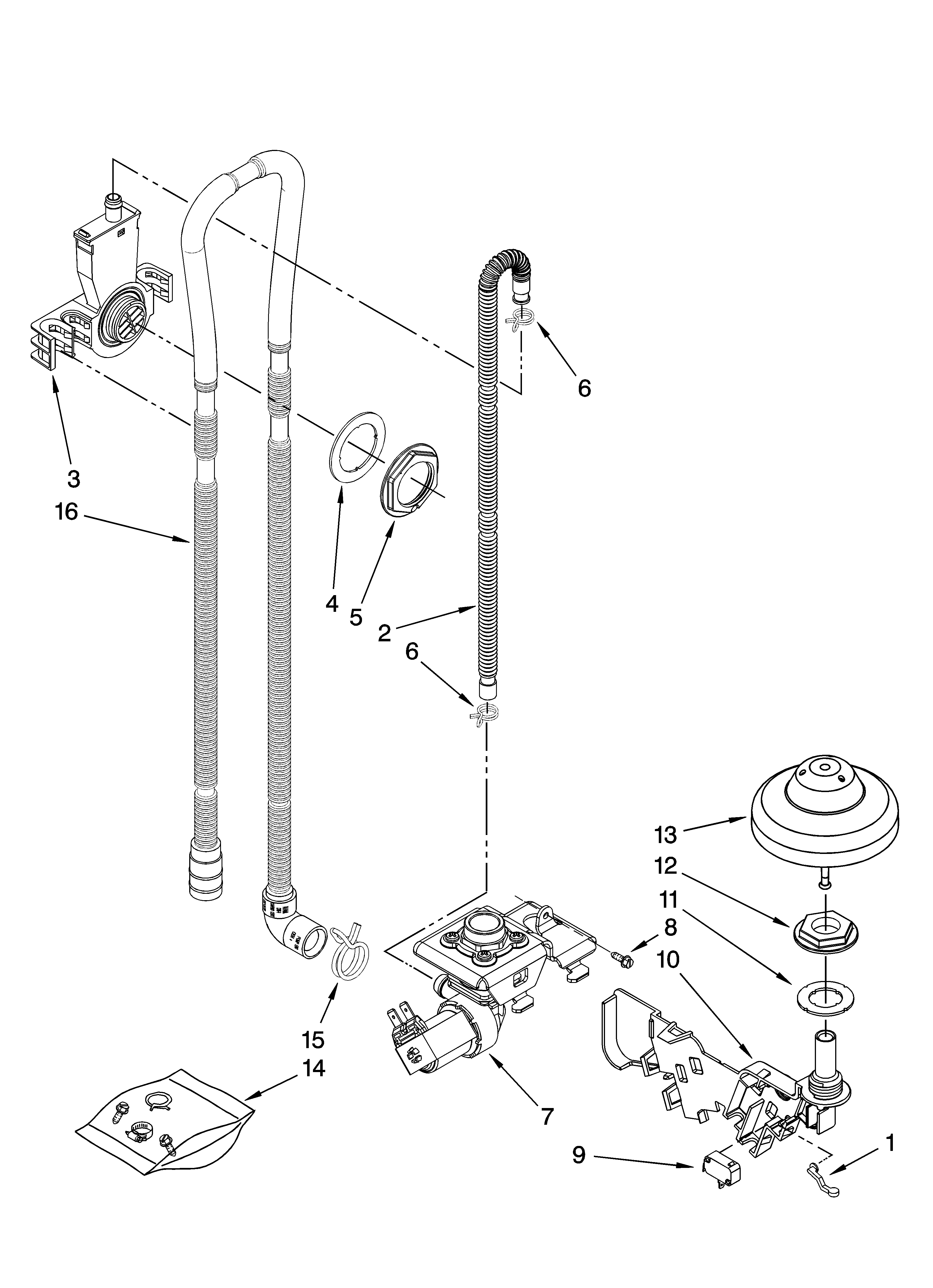 Kenmore Elite 66513129K701 fill, drain and overfill parts diagram
