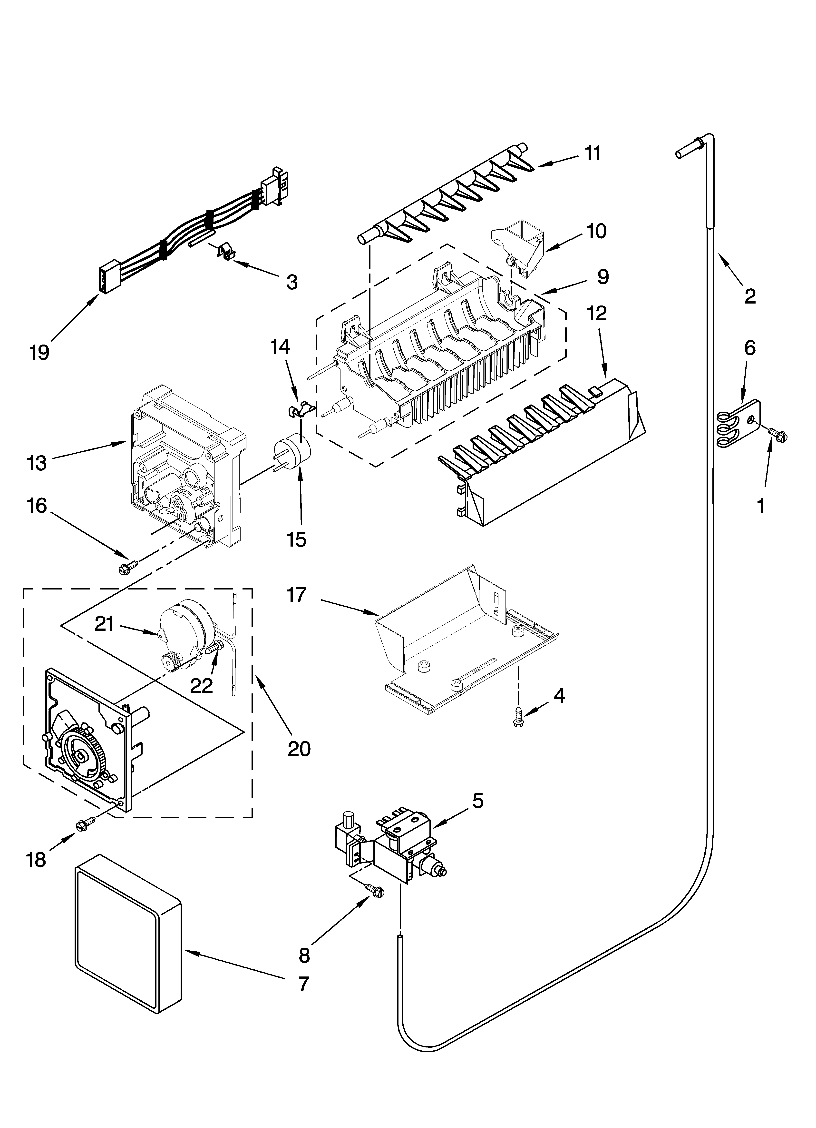 Kenmore 10657064603 icemaker parts, optional parts (not included) diagram