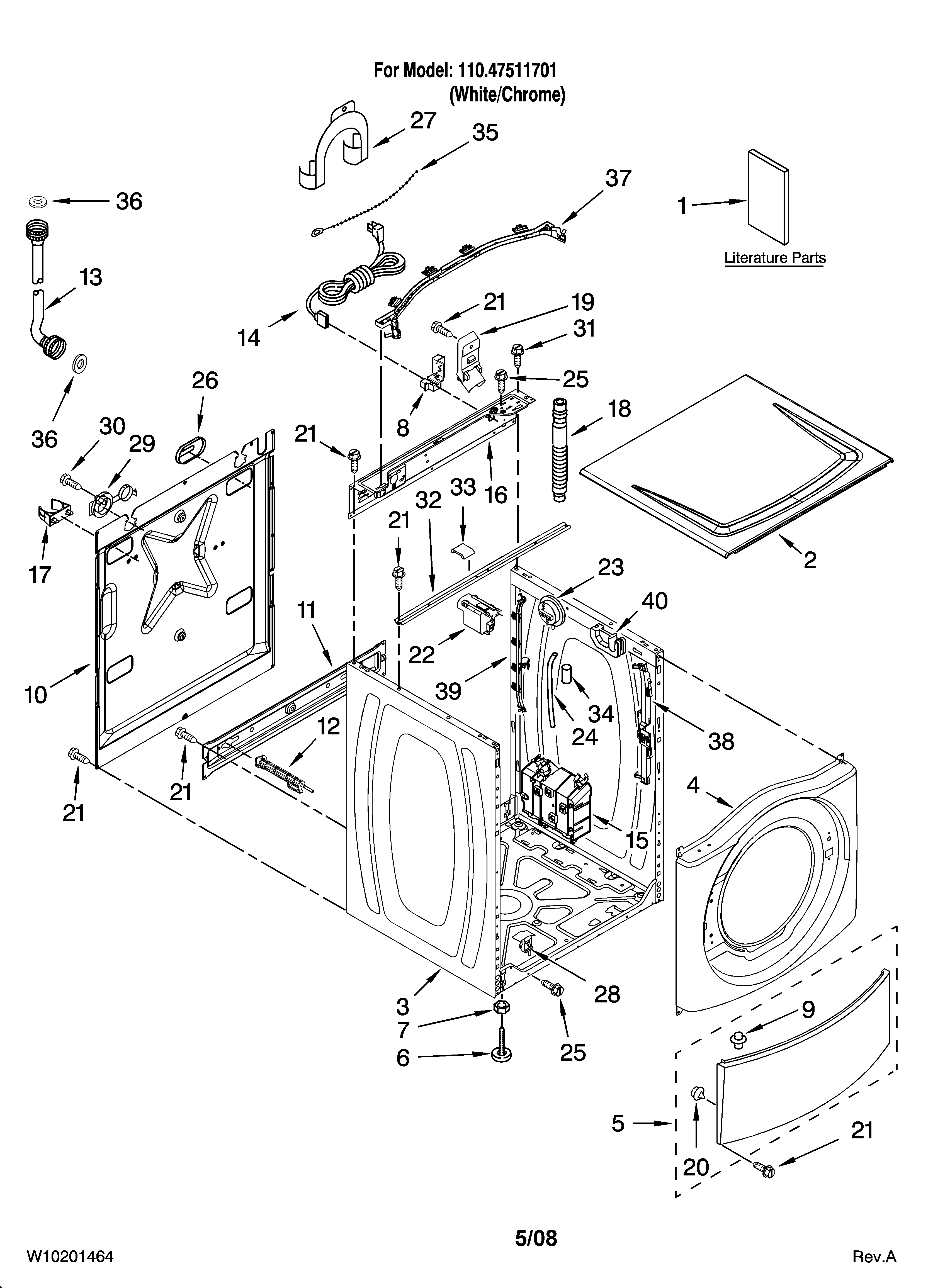 Kenmore 11047511701 top and cabinet parts diagram