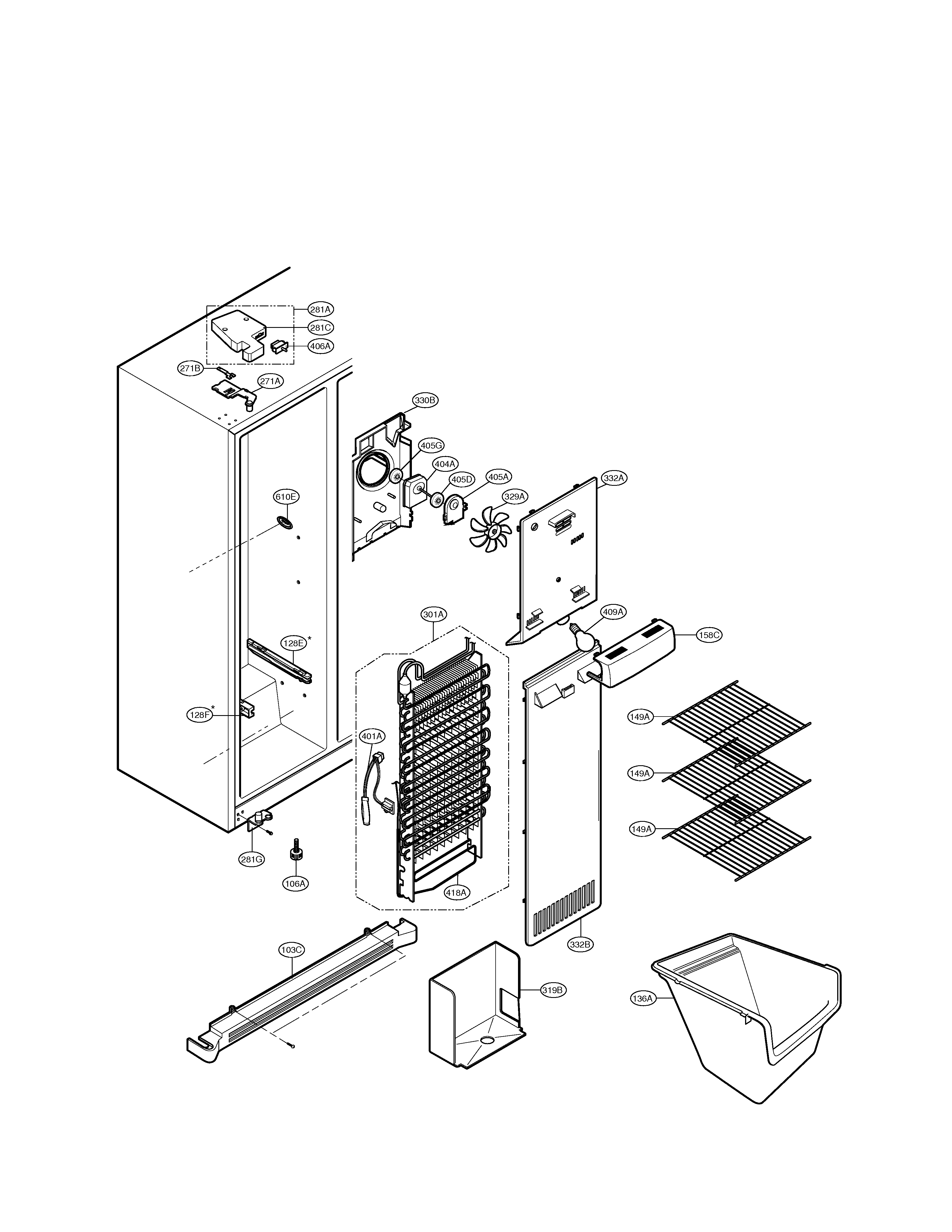 LG LSC27910ST freezer compartment diagram