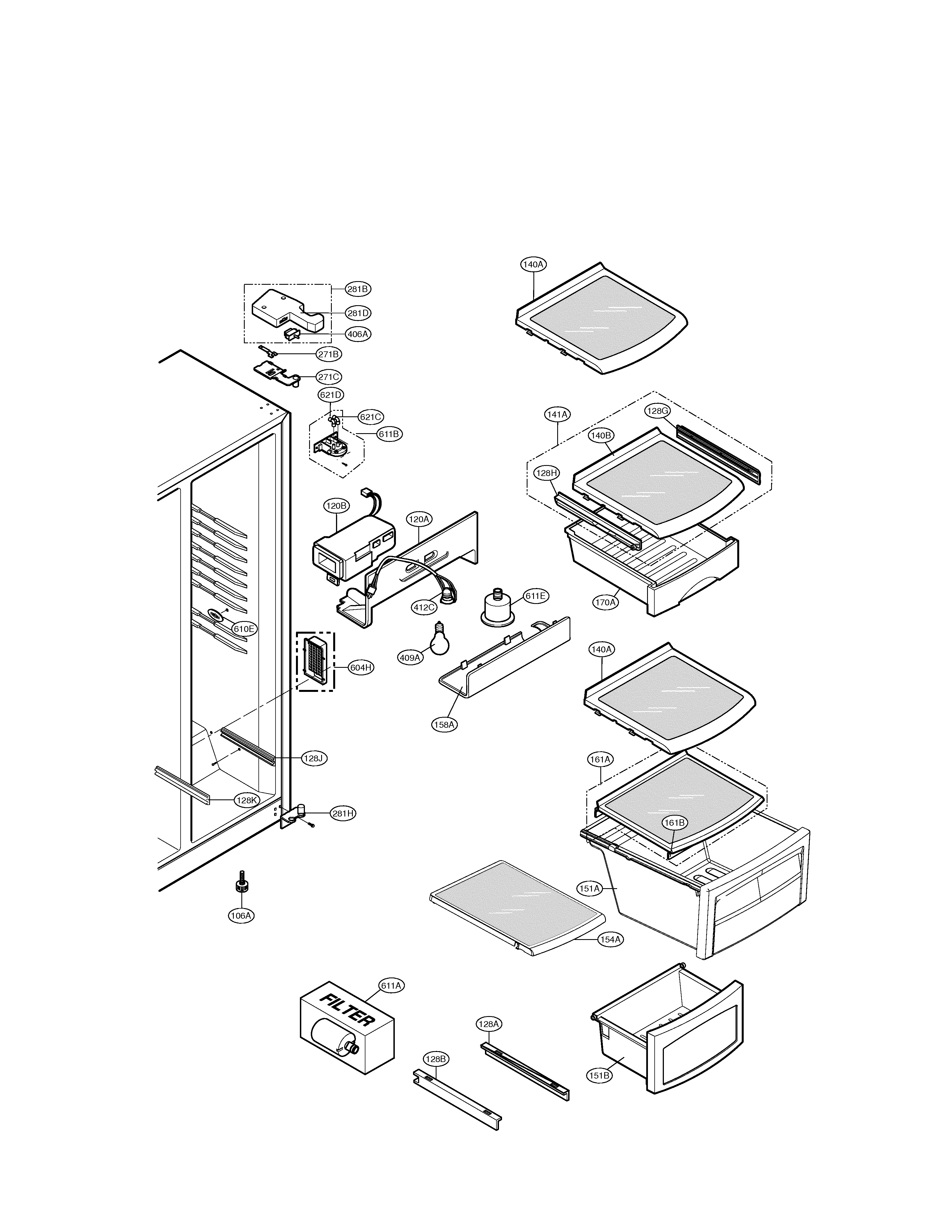 LG LSC27910ST refrigerator compartment diagram