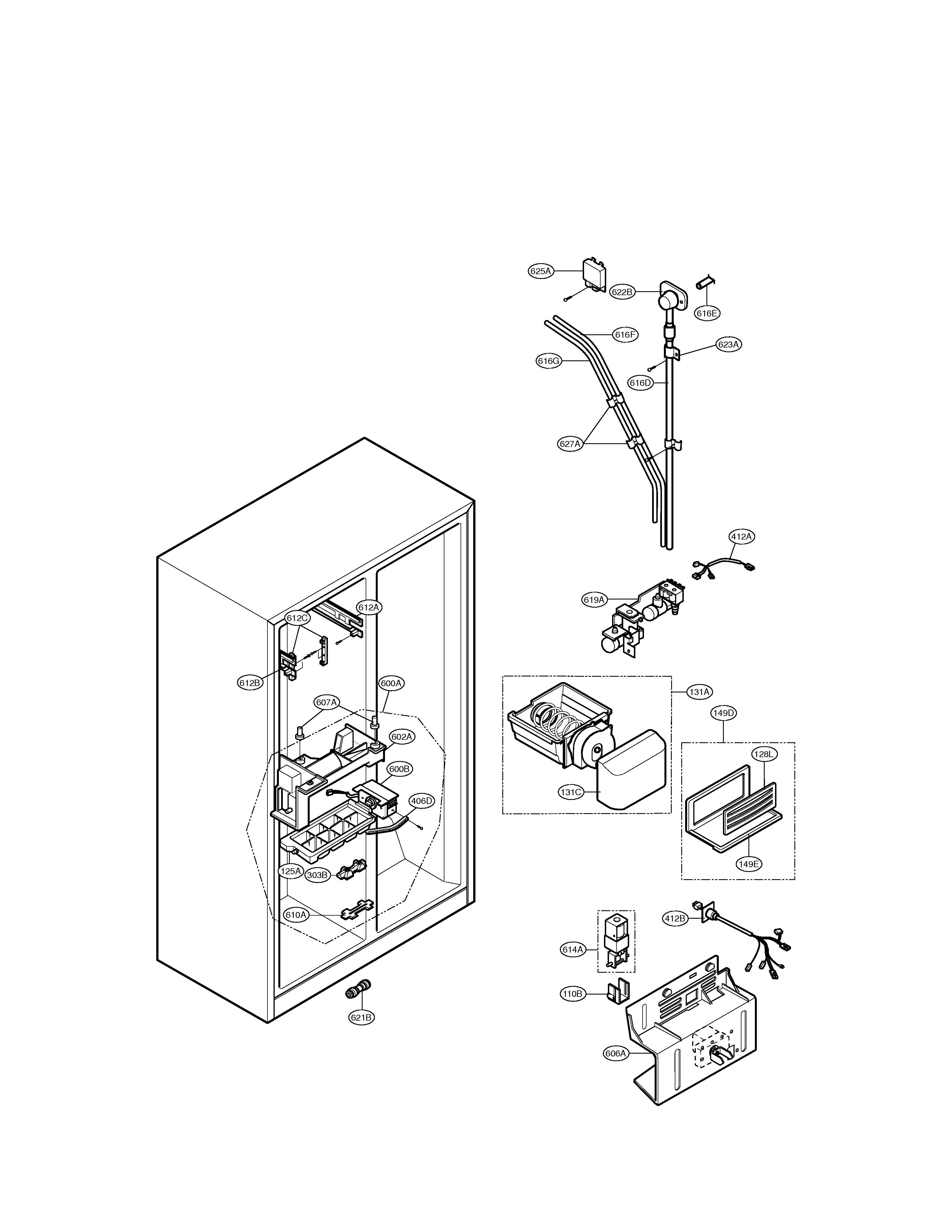 LG LSC27910ST ice & water parts diagram